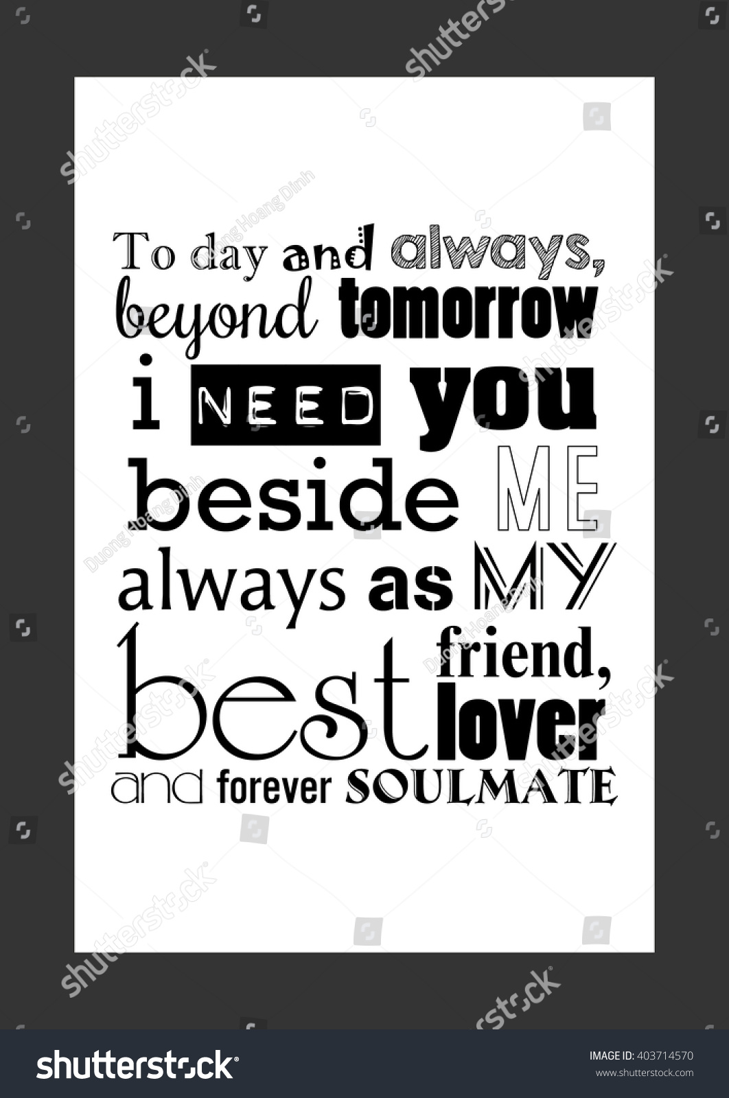 Best Friend Love Quotes Love Quote Today Always Beyond Tomorrow Stock Vector 403714570