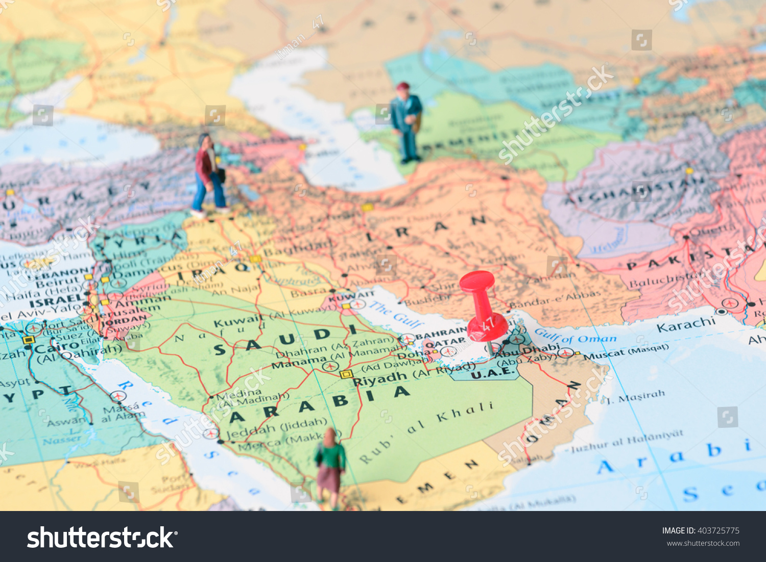Pinned On Map Dubai Uae Miniature Stock Photo Edit Now 403725775