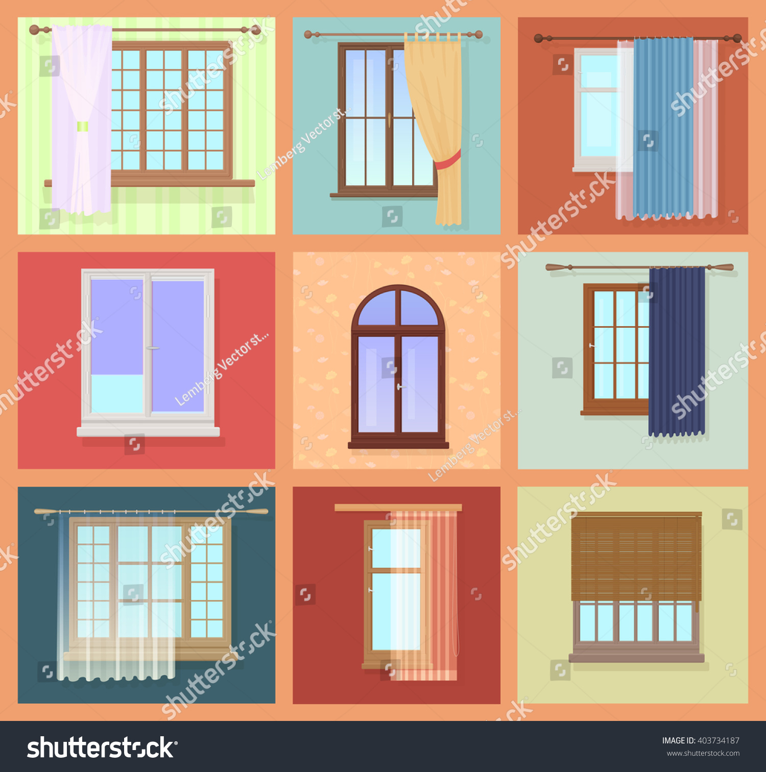 Set high quality various vintage windows stock vector for Quality windows
