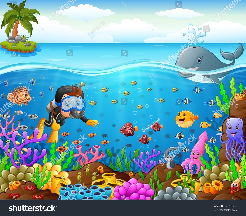 Stock Vector Cartoon Diver Under The Sea