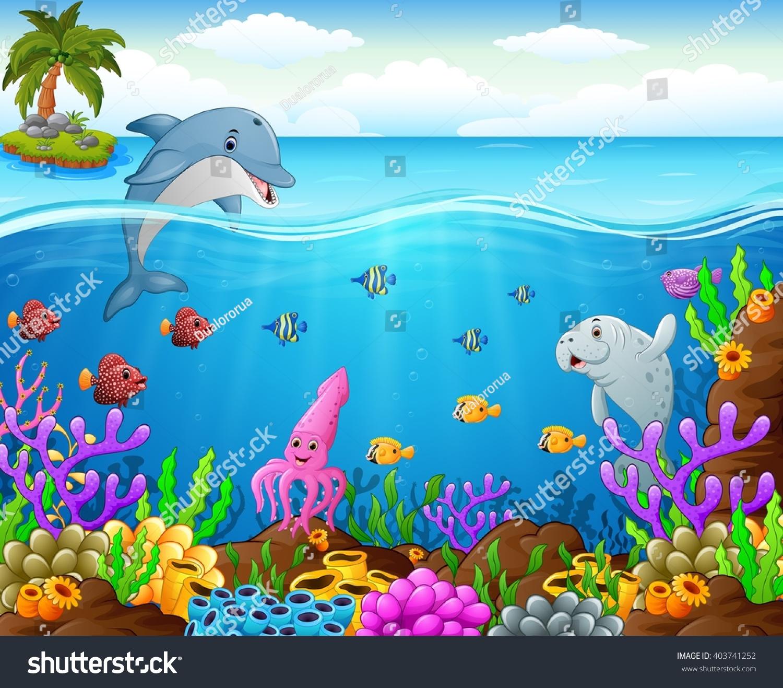 Stock Vector Cartoon Fish Under The Sea