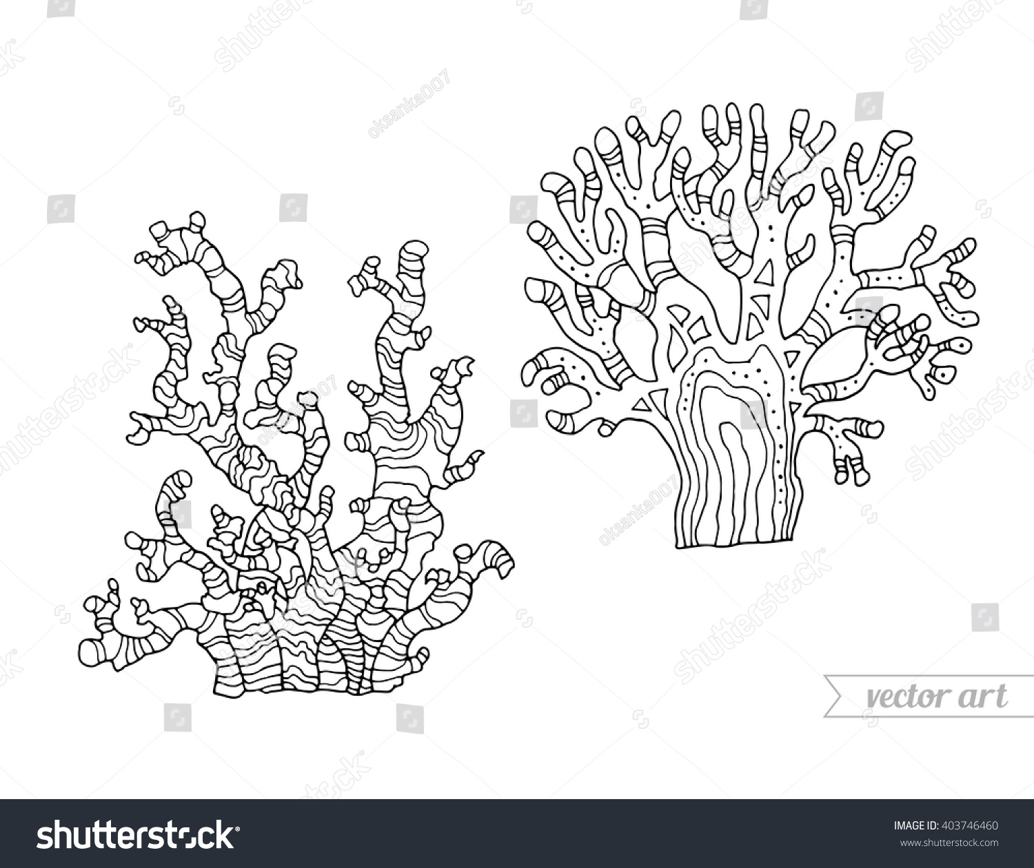 coral isolated coral reef vector set stock vector 403746460