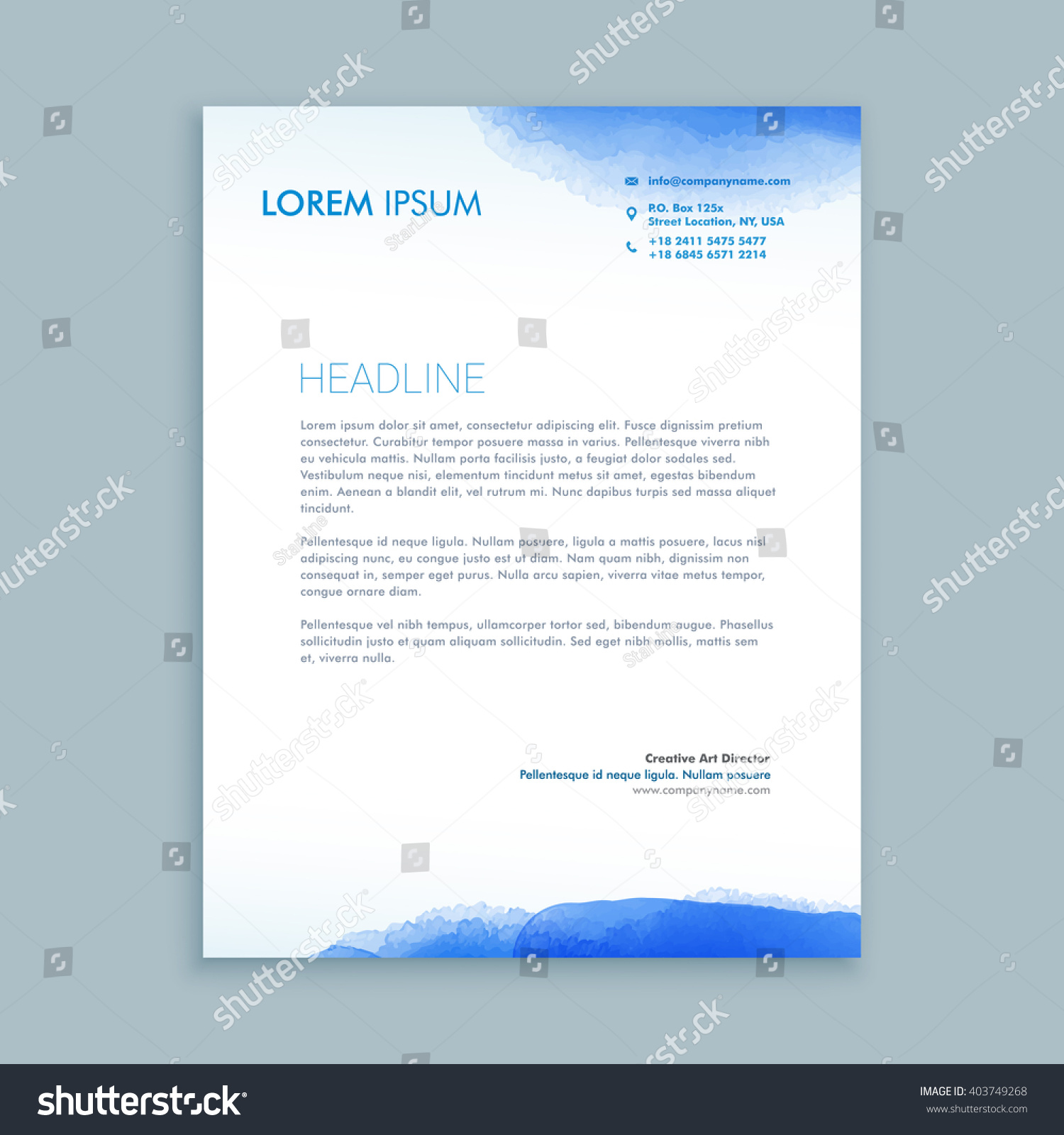 Corporate Business Letterhead Template Stock Vector