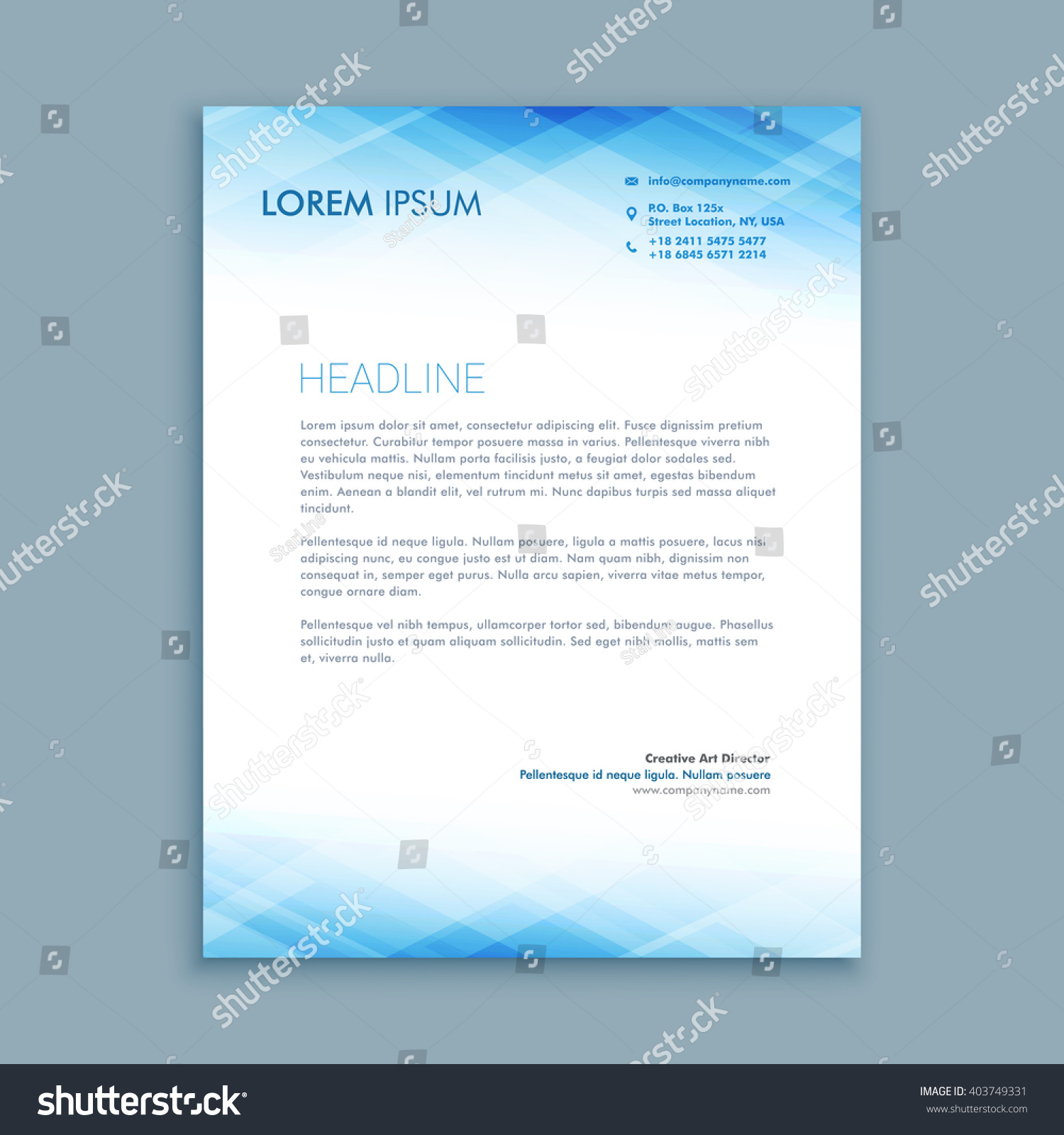 Abstract Business Letterhead Template Stock Vector