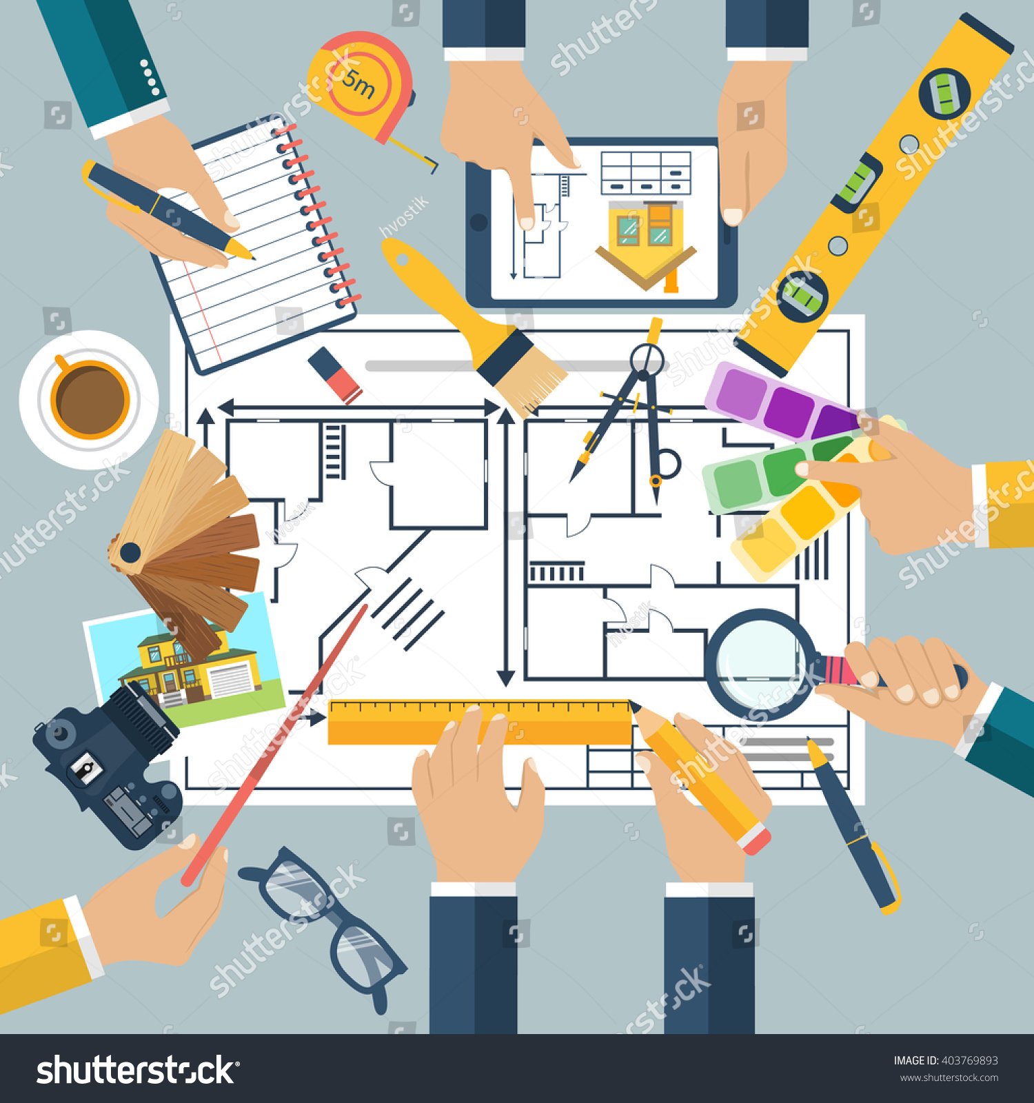 Team people working together plan repair stock vector for Building project plan