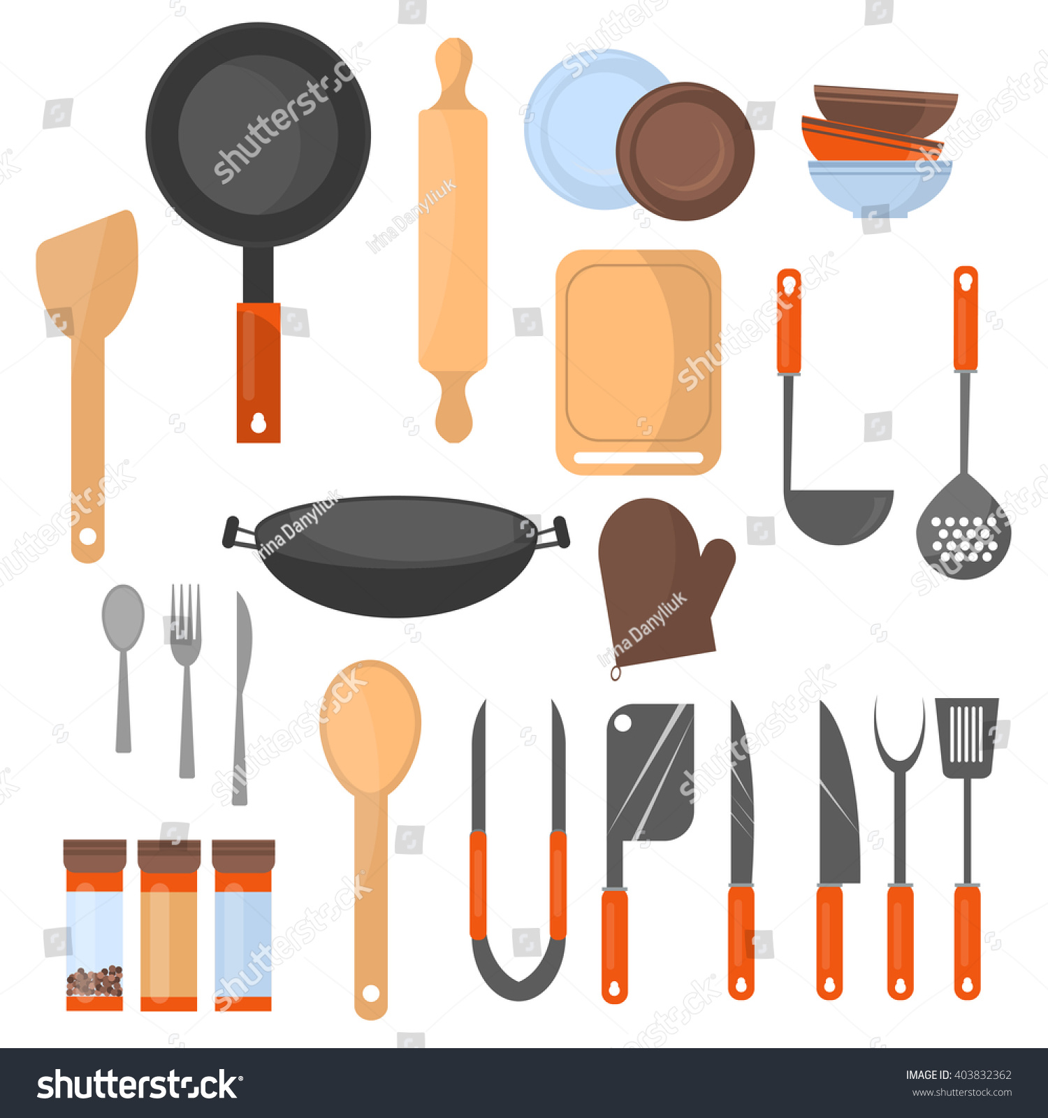 Different Kitchen Tools And Equipment ~ Set kitchen utensil collection cookware icons stock vector