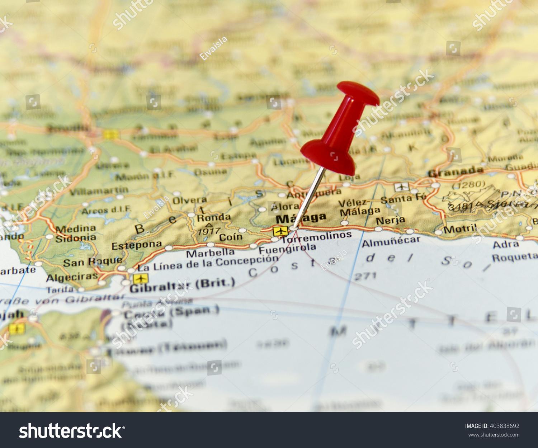 Map Spain Pin Set On Malaga Stock Photo Edit Now 403838692