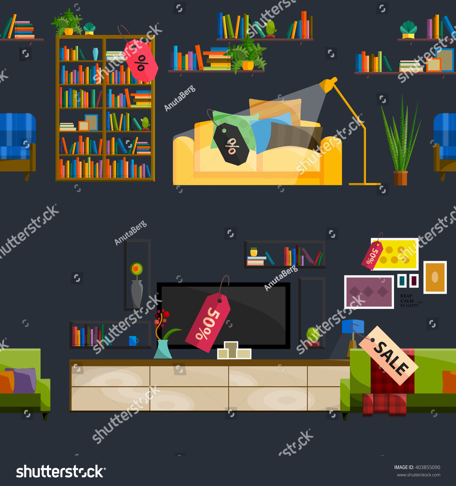 Furniture Shop Super Sale Vector Illustration. Furniture Shop Super Sale Vector Illustration Stock Vector