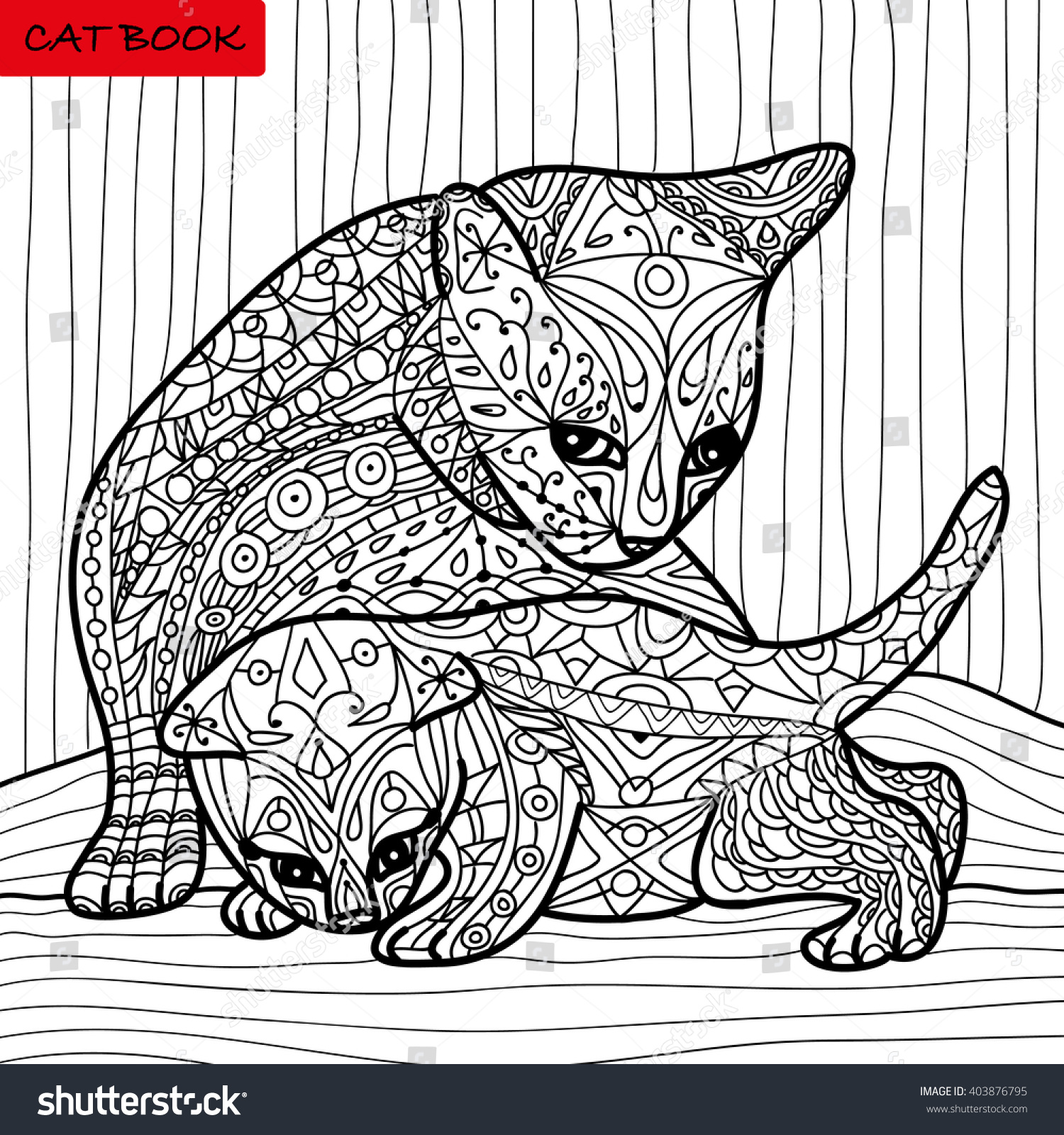cat mother her kitten coloring book stock vector 403876795