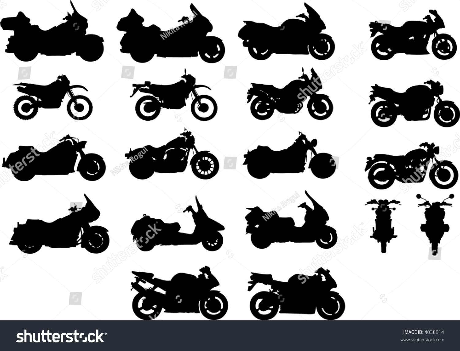 vector silhouettes different types motorcycles stock