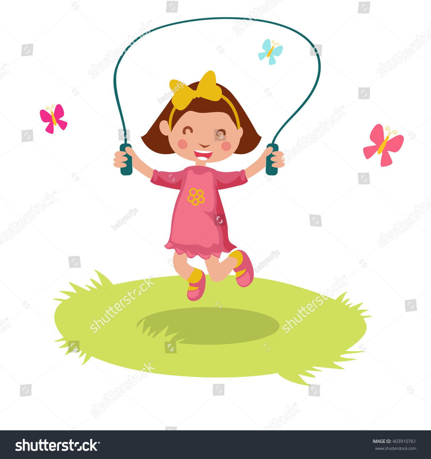 Little Cartoon Girl Skipping Rope Vector Stock Vector 403910761 - Shutterstock
