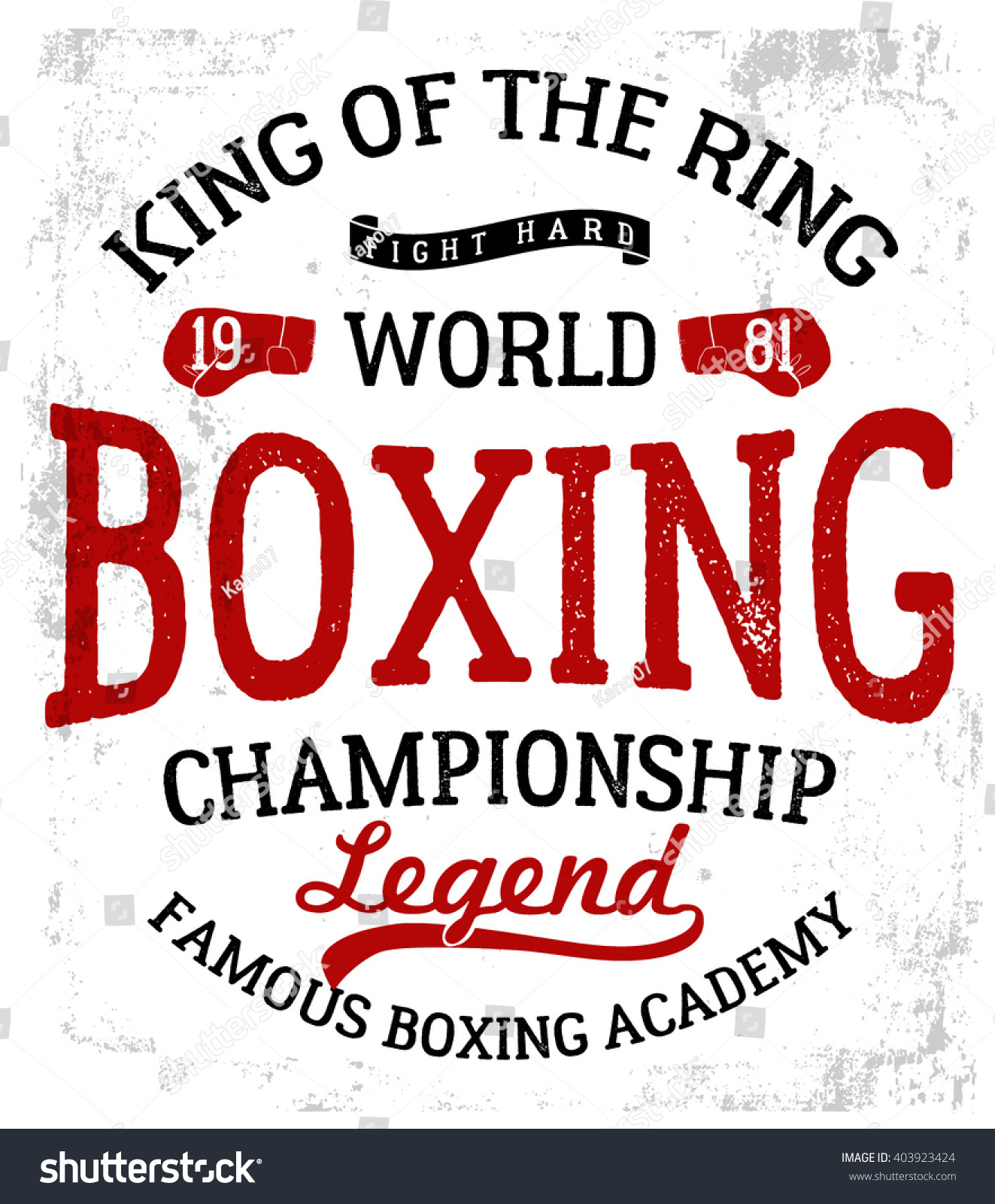 Vintage Boxing Gloves vector illustration. Template for print, t-shirt ...
