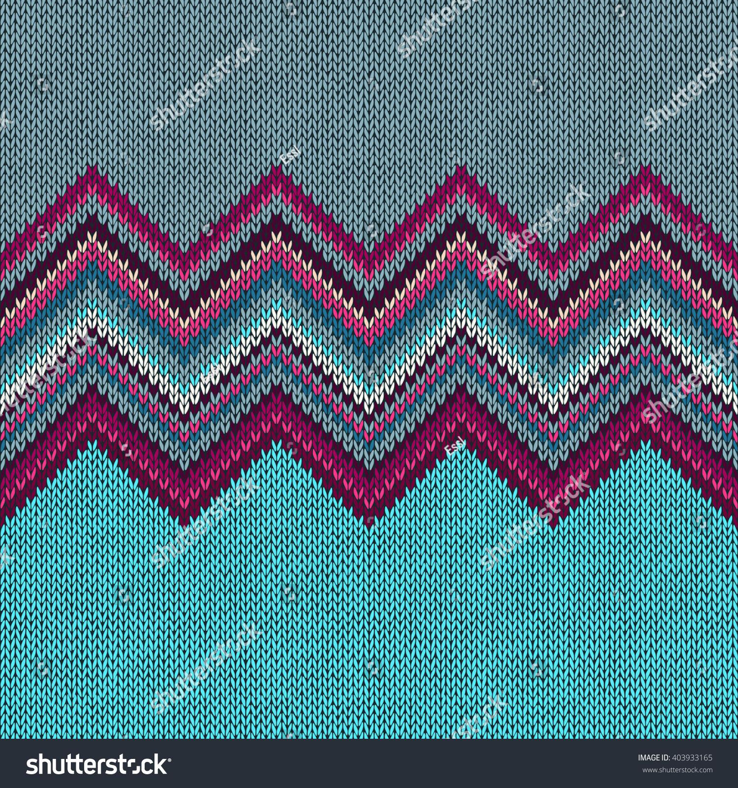 Seamless Knitting Christmas Pattern Wave Ornament Stock Illustration ...