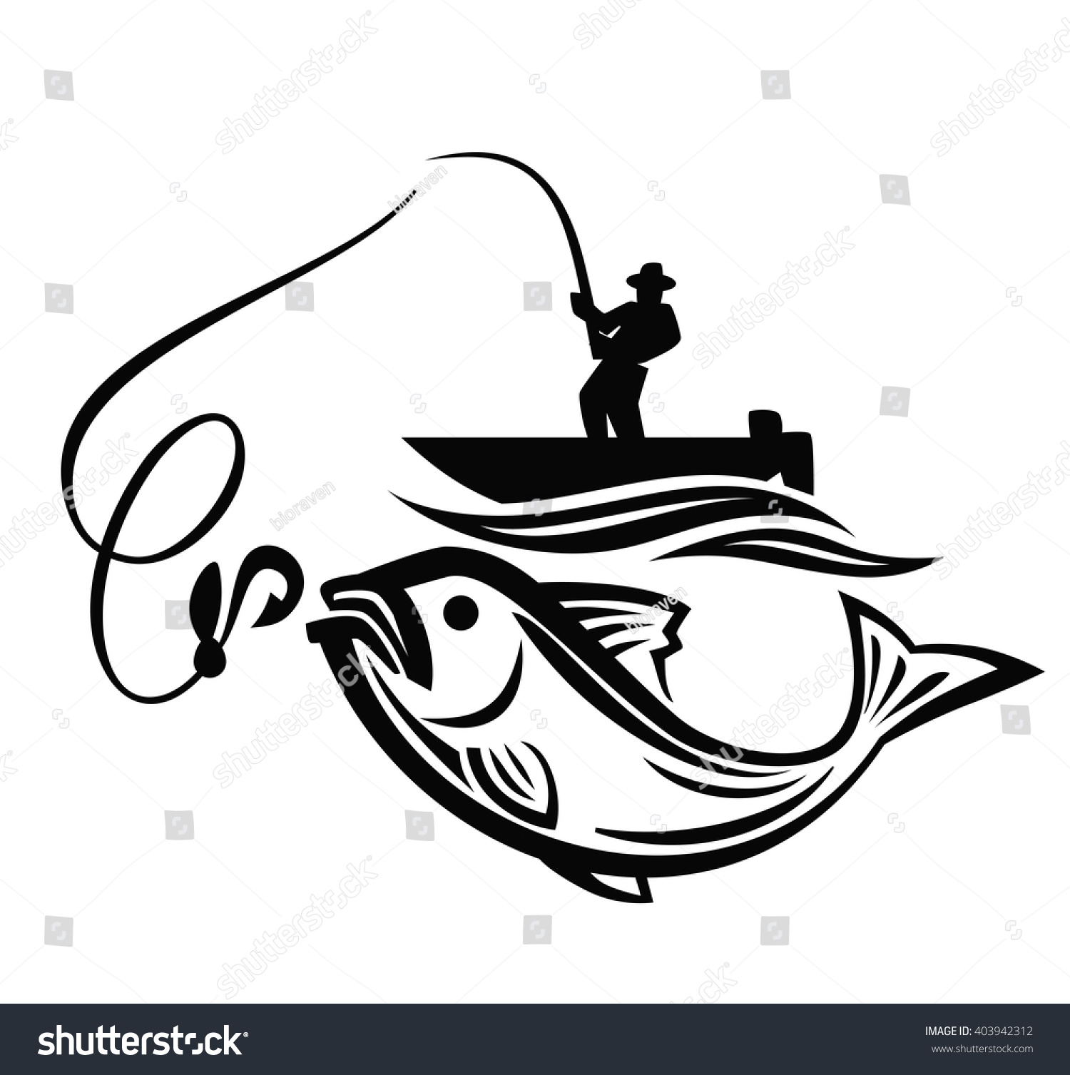 vector black fisherman icon on white stock vector