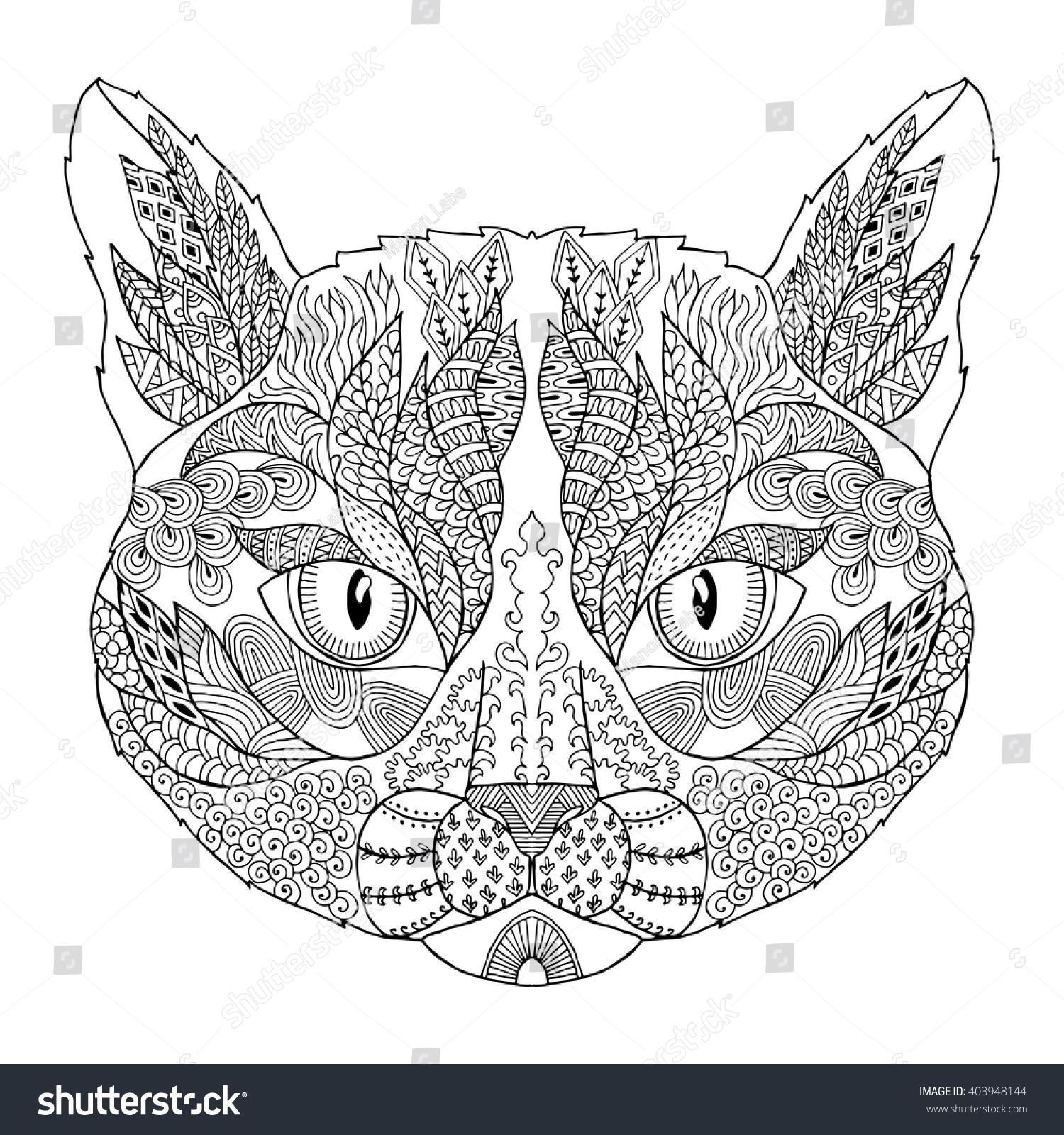 Zen Line Drawing : Zentangle stylized doodle vector cat head stock