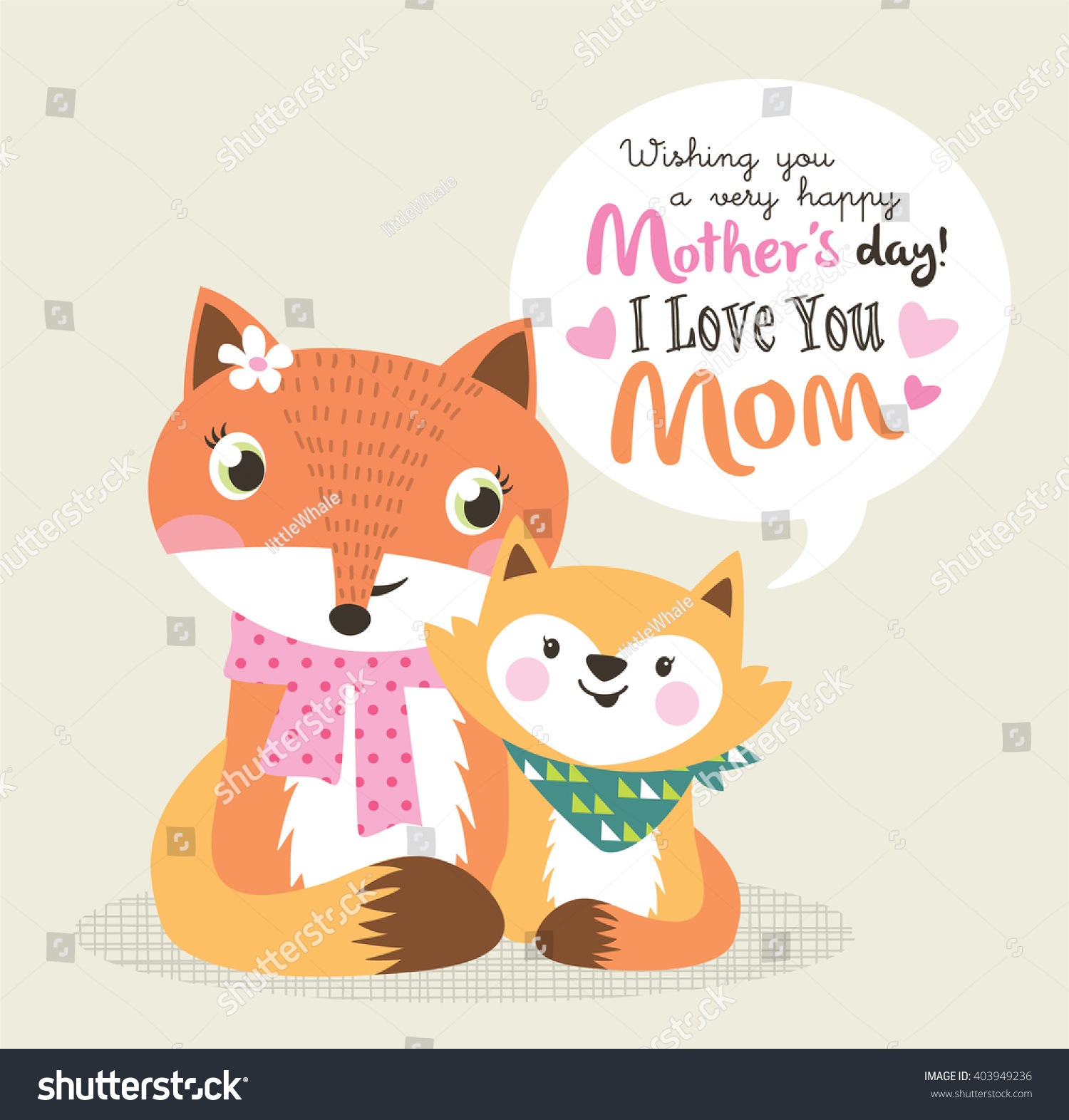 Mothers Day Greeting Card Little Fox Stock Vector 403949236