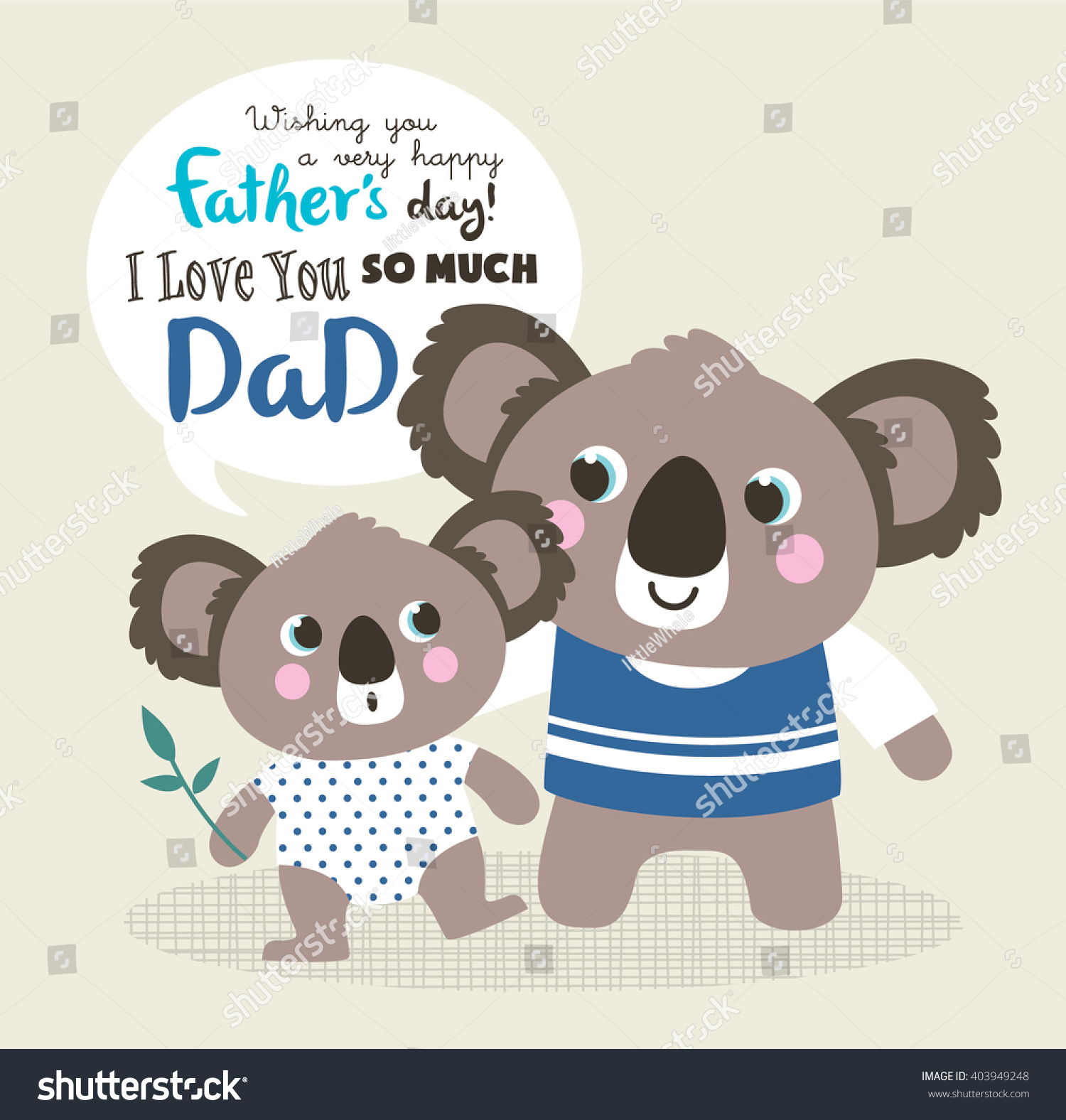 Fathers Day Greeting Card Little Koala Stock Vector Royalty Free