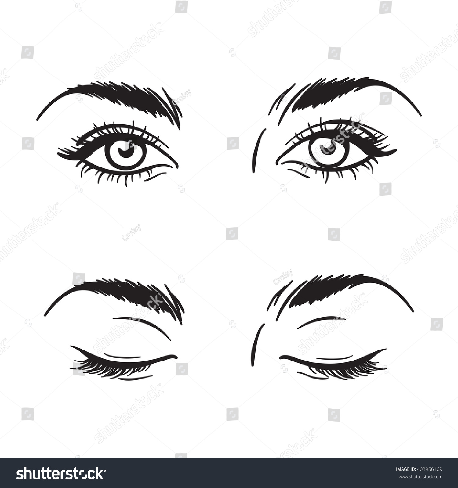 isolated black and white beautiful female eyes set open