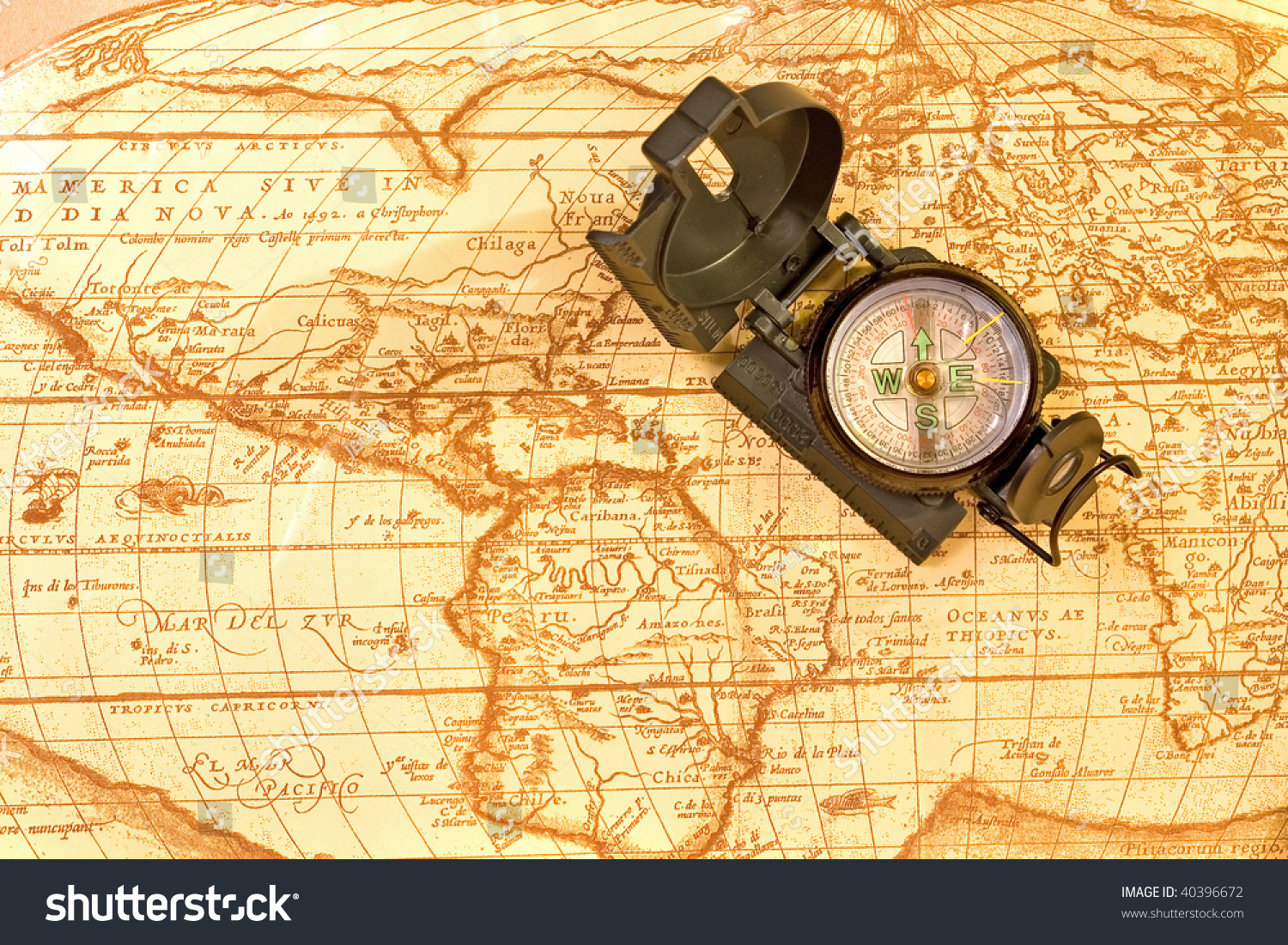 Compass On Ancient World Map Stock Photo Edit Now 40396672