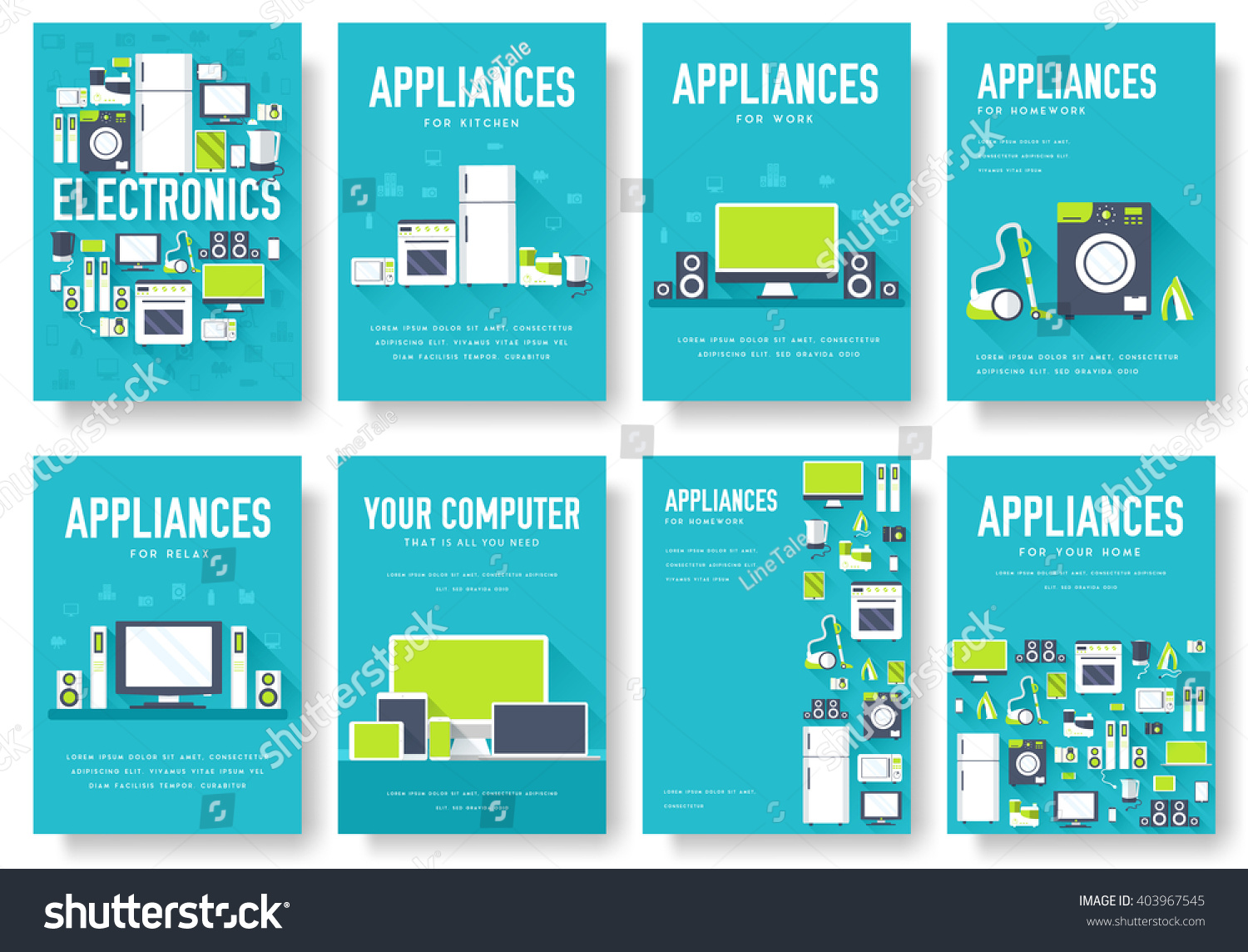Home appliances cards set electronics template of flyear for Electronic address book template