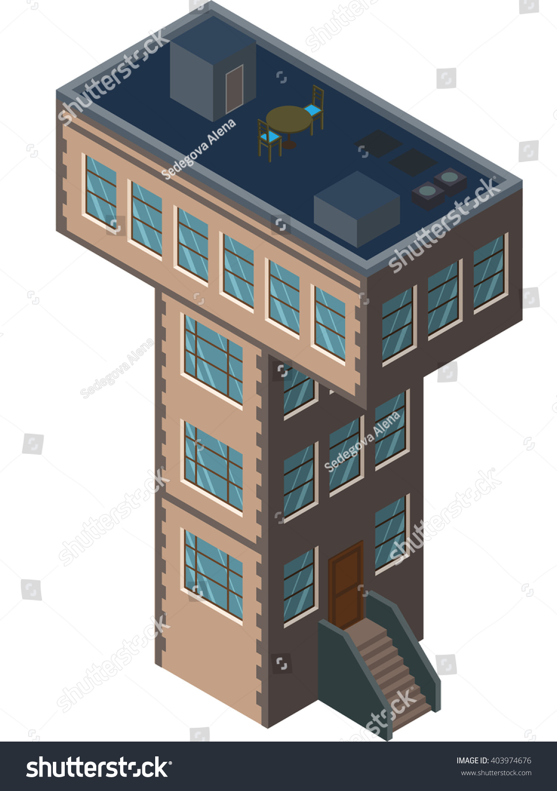 letter t house shaped as city element building isometric