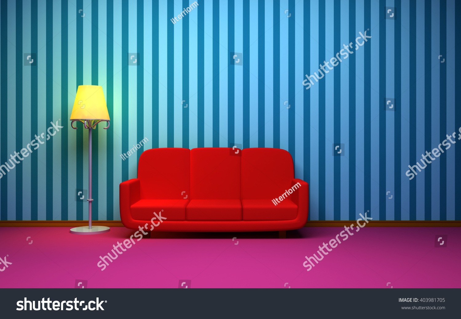 A Room In A Retro Style With A Red Sofa And Blue Striped Wallpaper. Side