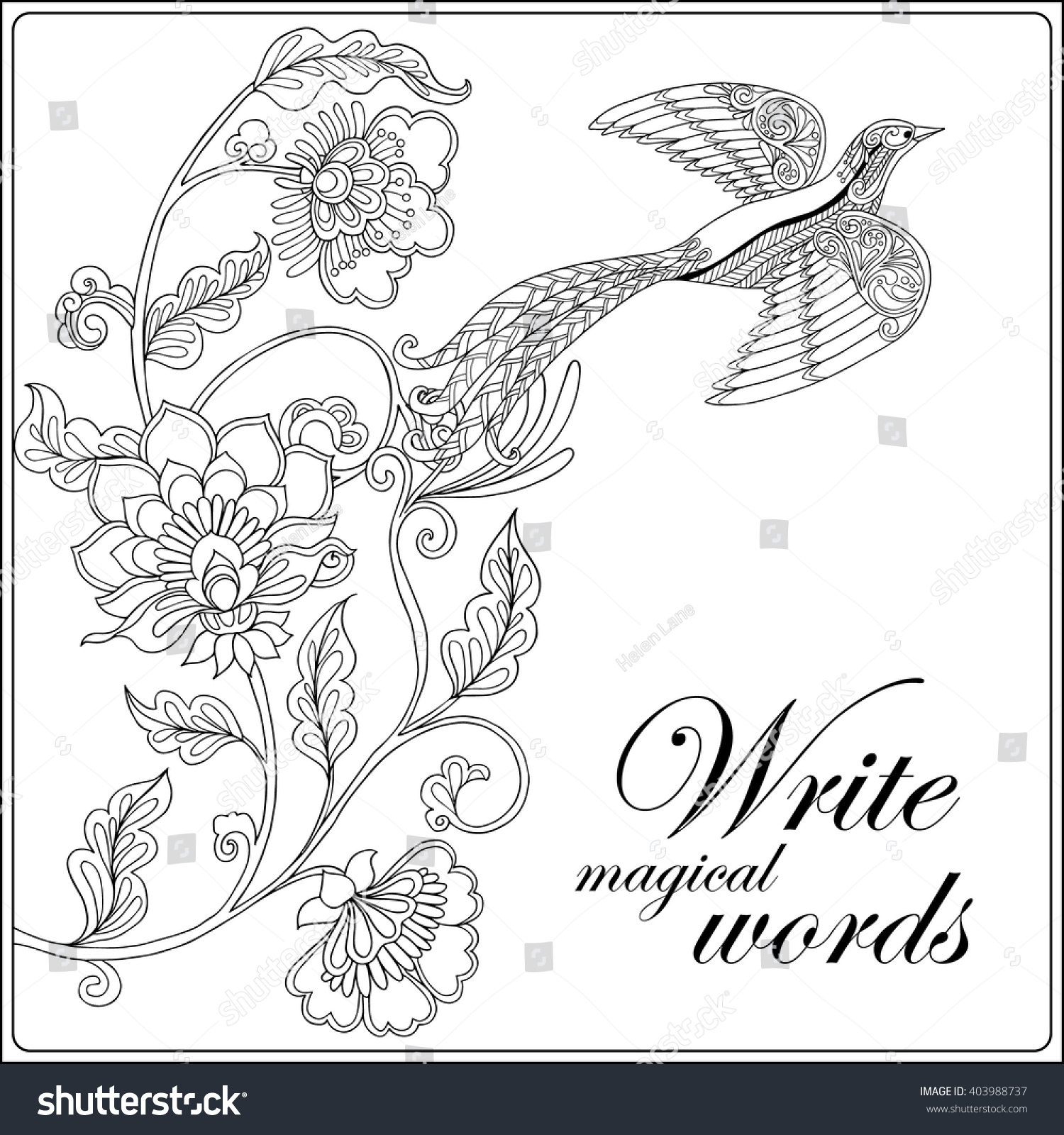 decorative flowers birds coloring book stock vector