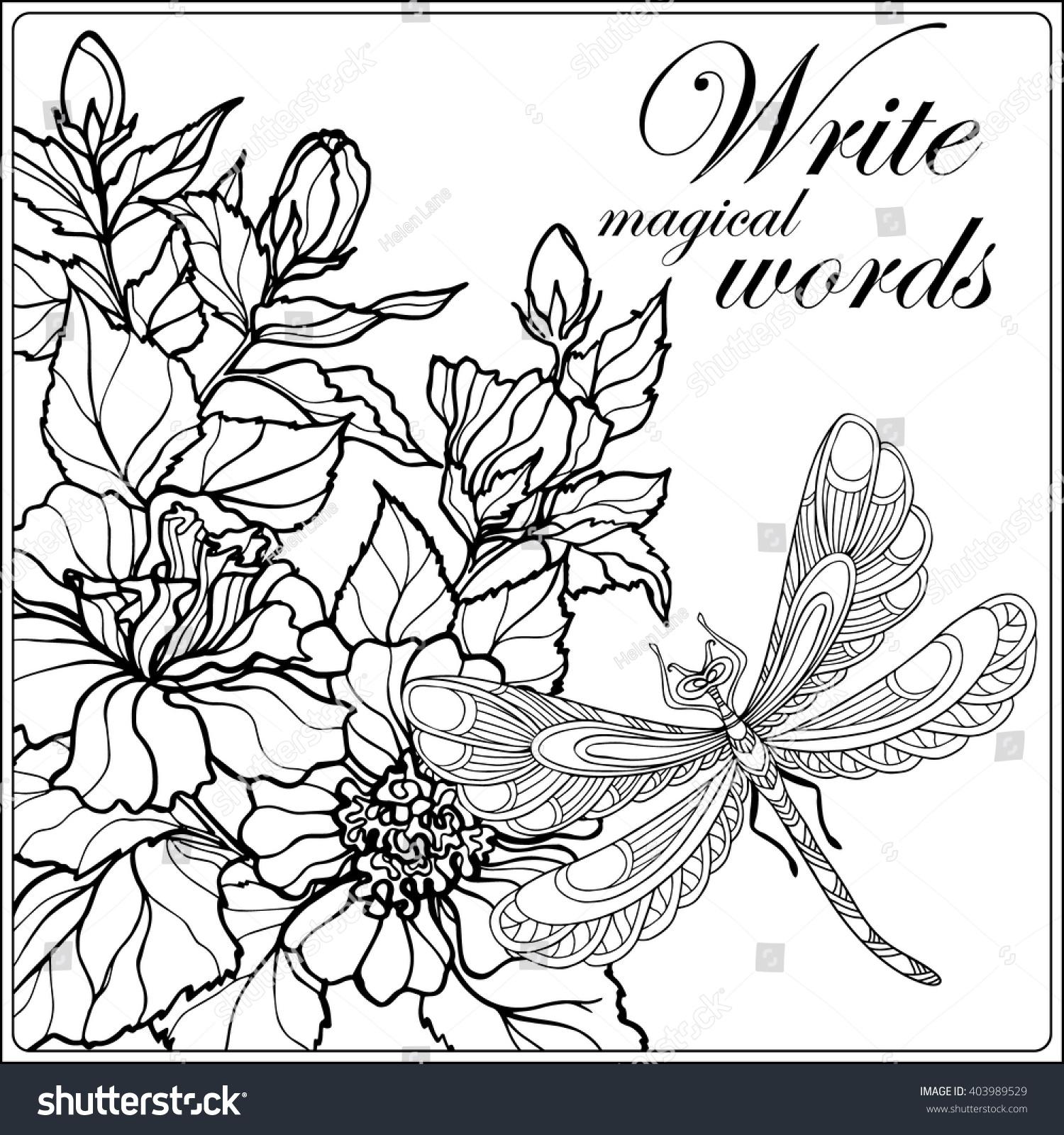 Decorative Flowers Birds Butterflies Coloring Book Stock Vector 403989529