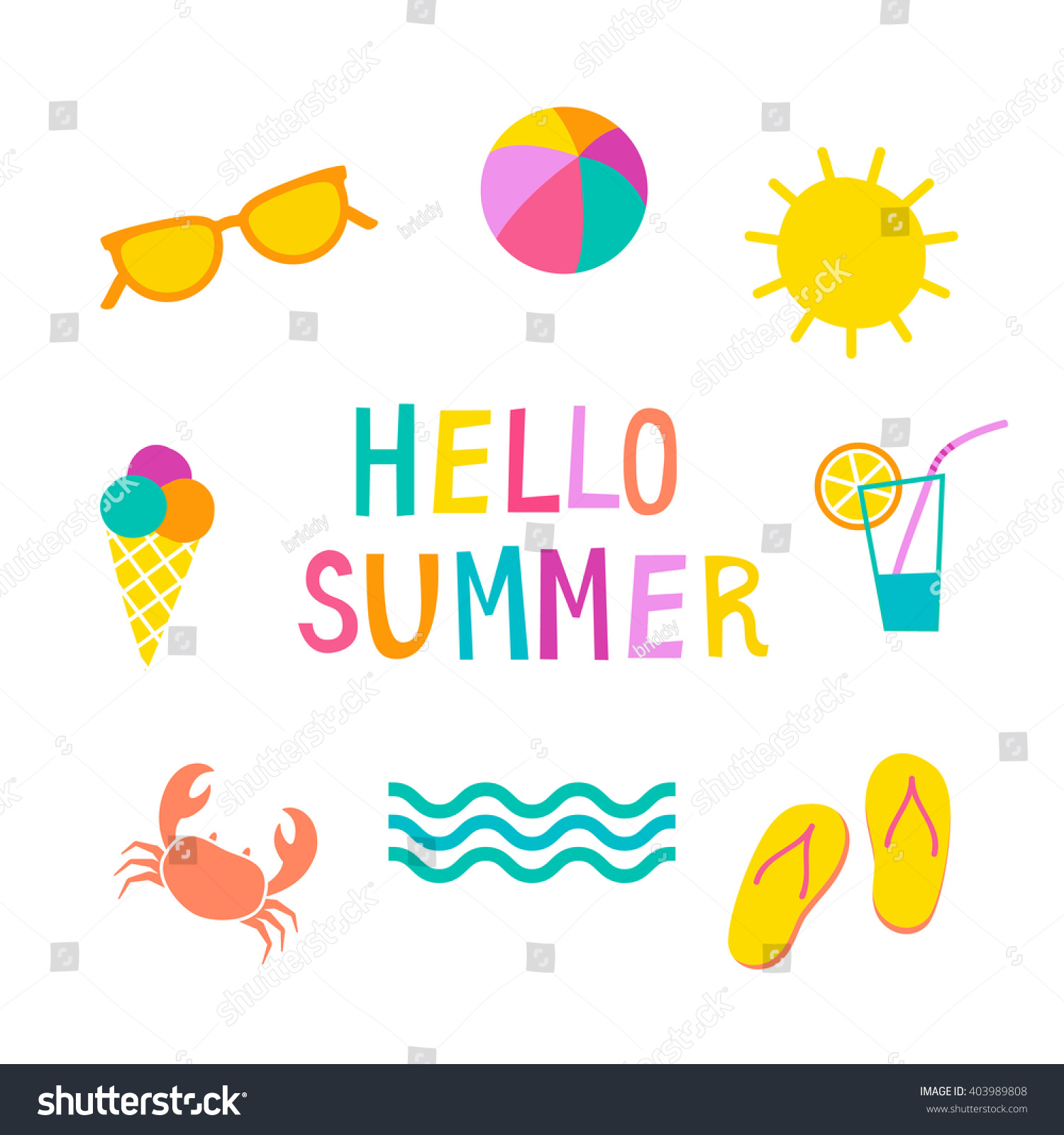 Colorful Summer Icons Set Cute Vector Stock Vector 403989808 - Shutterstock