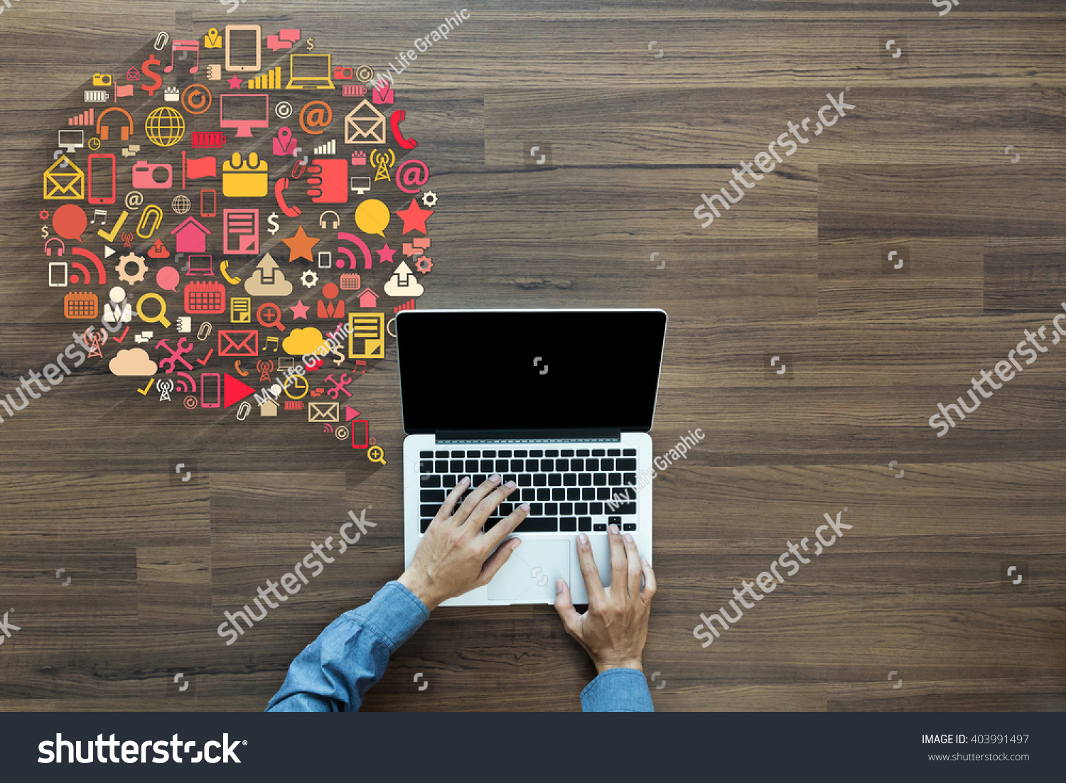 Business innovation technology set application icons, With businessman working on laptop computer PC on wood table, view from above #403991497