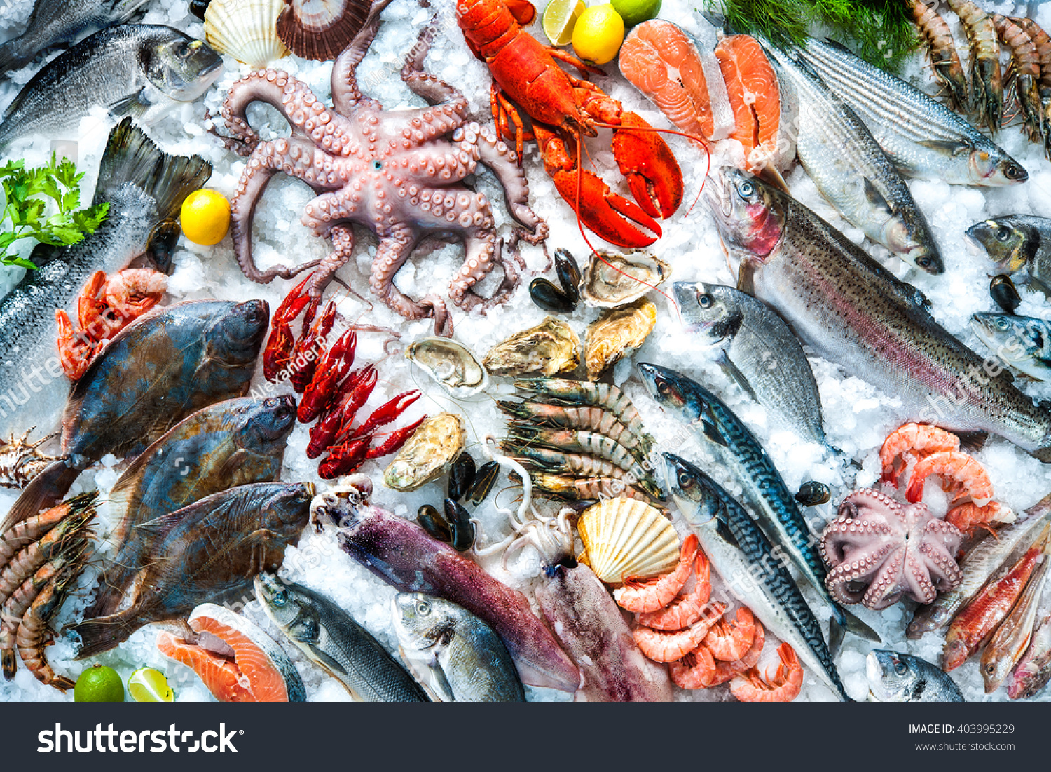 Seafood on ice fish market stock photo 403995229 for Seafood fish market