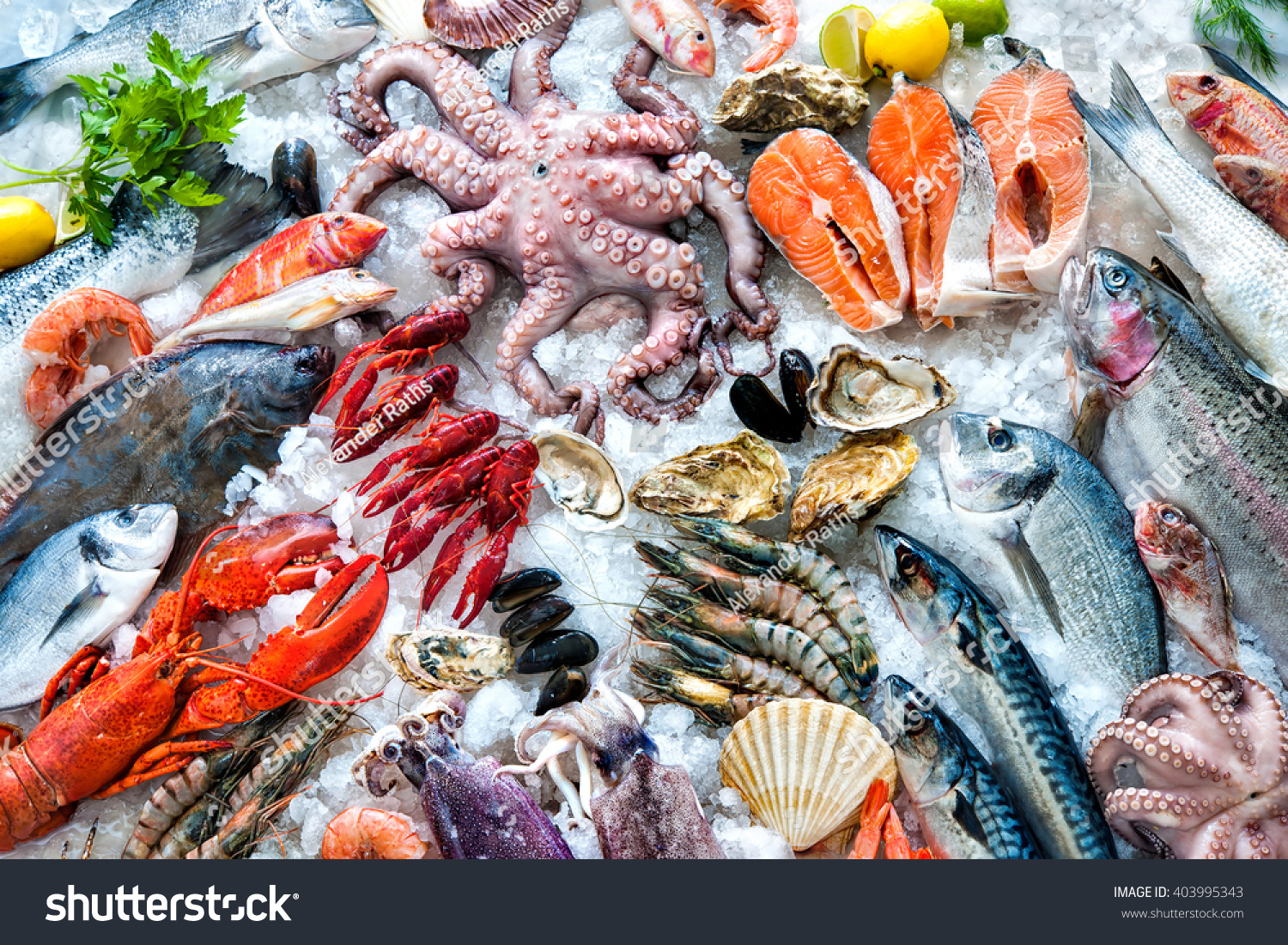 Seafood on ice fish market stock photo 403995343 for Seafood fish market
