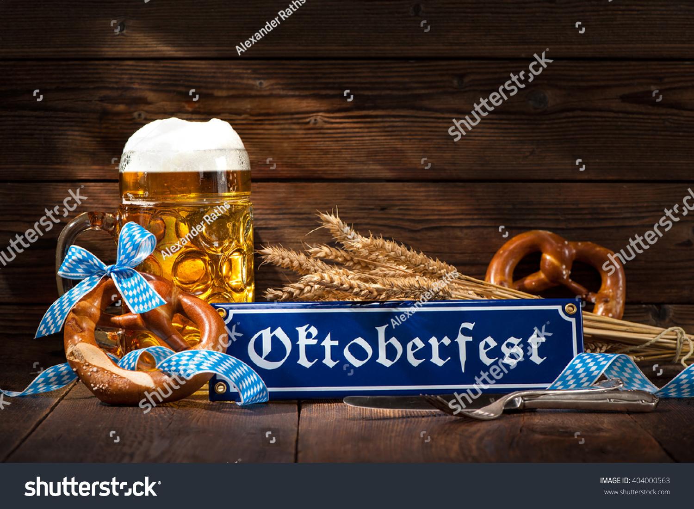Original bavarian pretzels with beer stein on