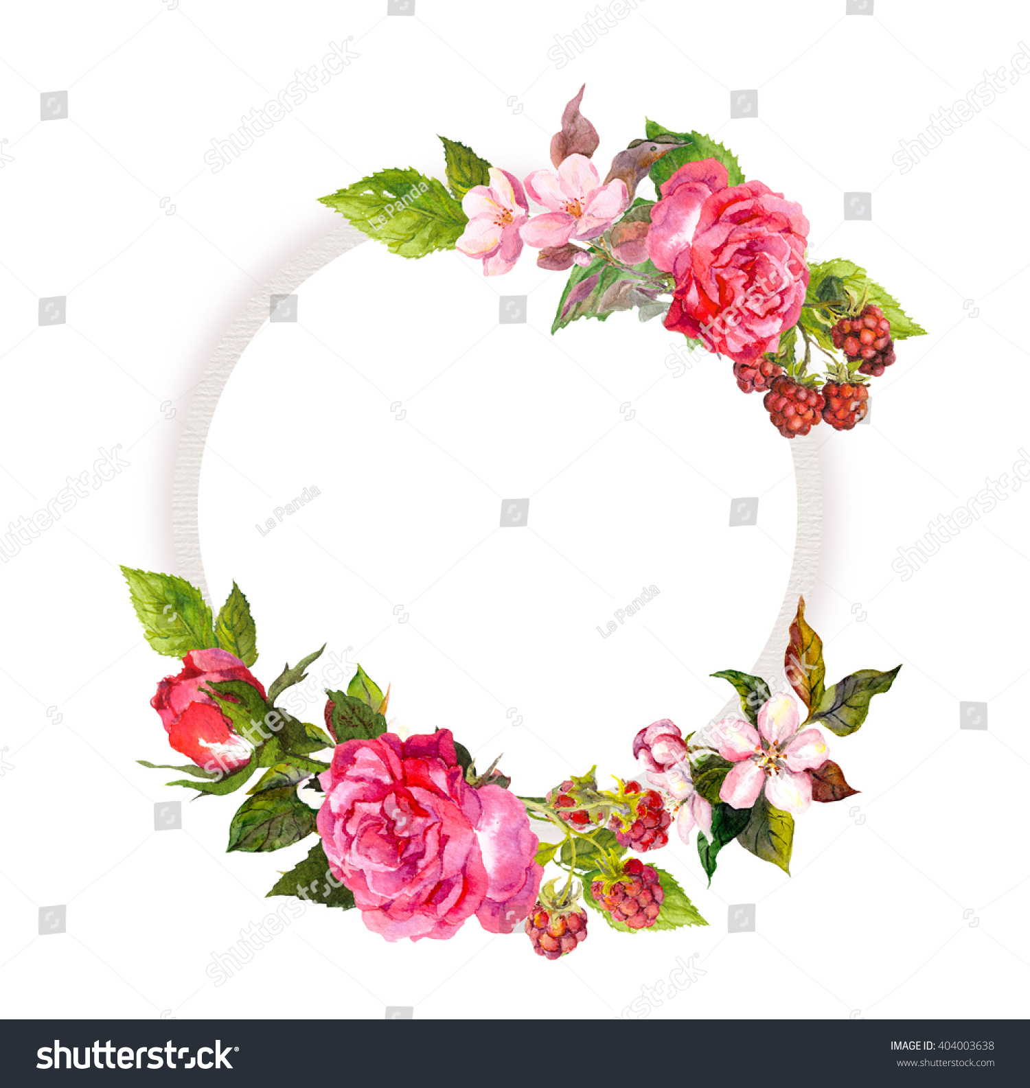 Floral Wreath Roses Pink Flowers Berries Stock Illustration