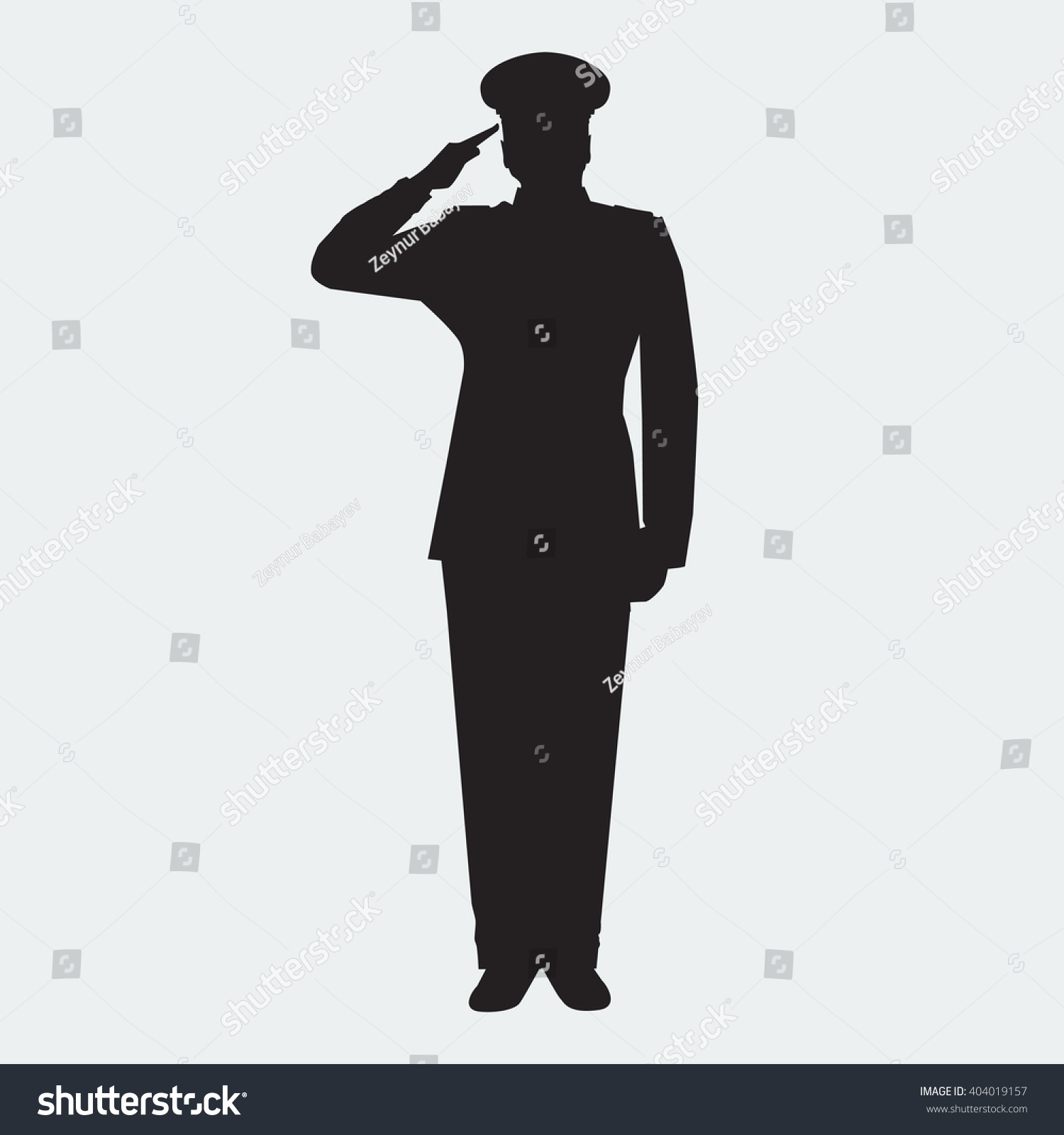 Illustrated Army General Silhouette With Hand Gesture ...