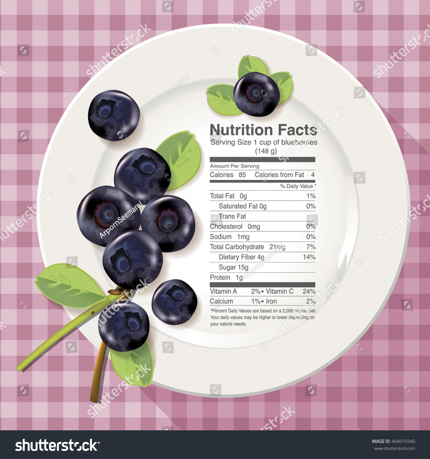 Vector Nutrition Facts Blueberries On White Stock Vector Royalty Free 404019340