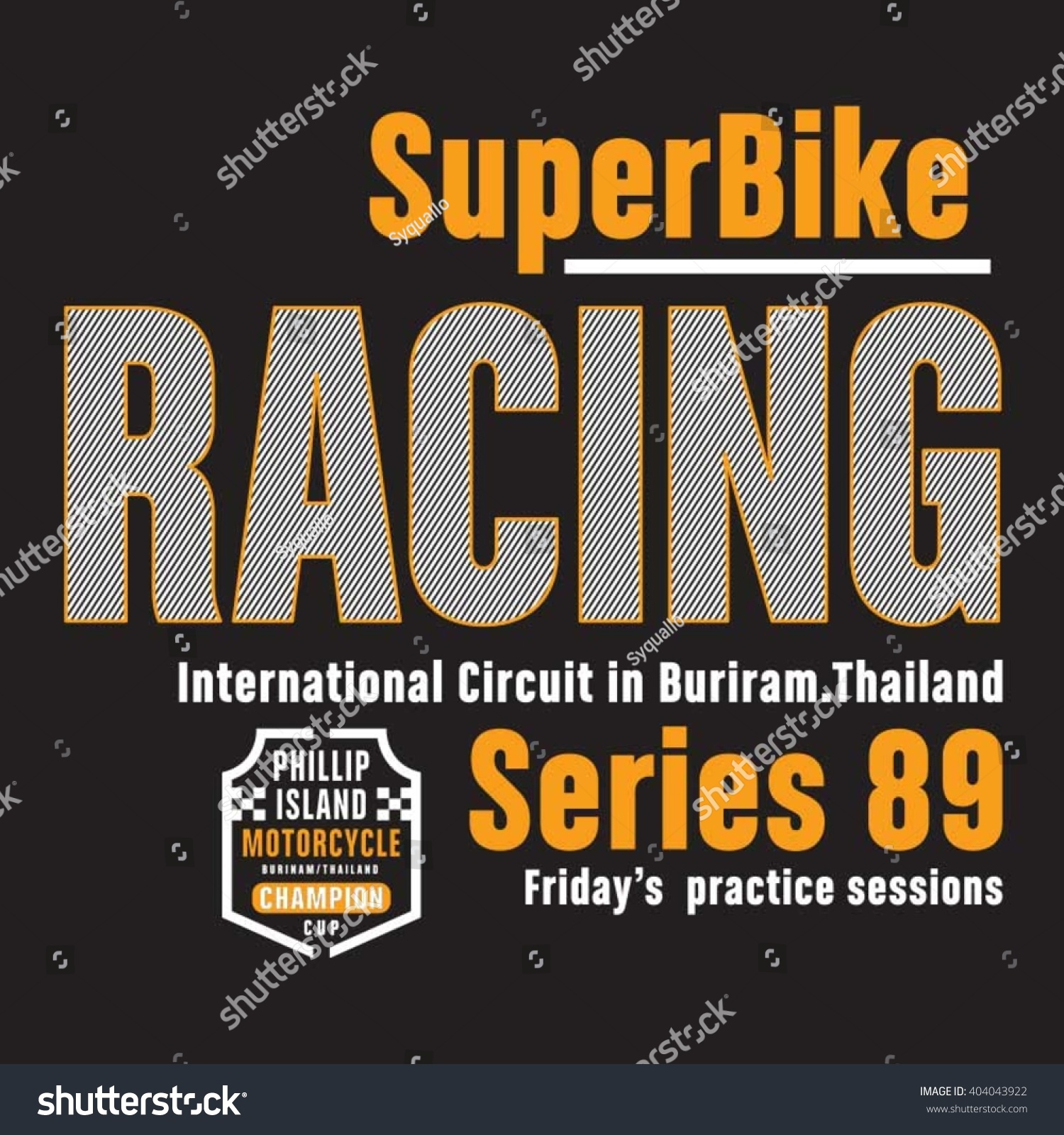 Racing Super Biker Thailand Typography Tshirt Stock Vector Royalty