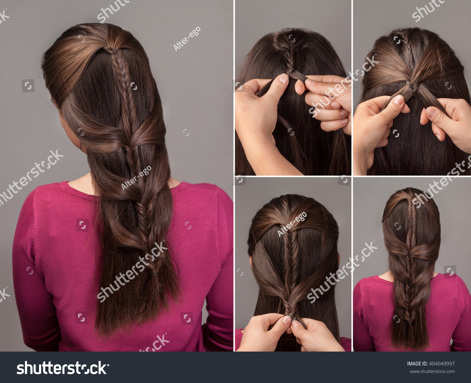 Process Weaving Fishtail Braid Hairstyle Tutorial Stock Photo Edit