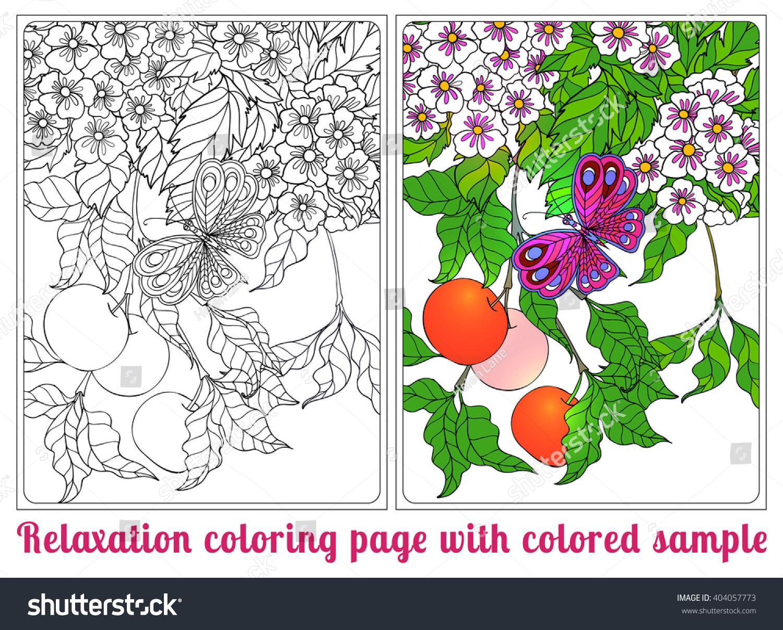 Decorative Flowers Birds Butterflies Coloring Book Stock