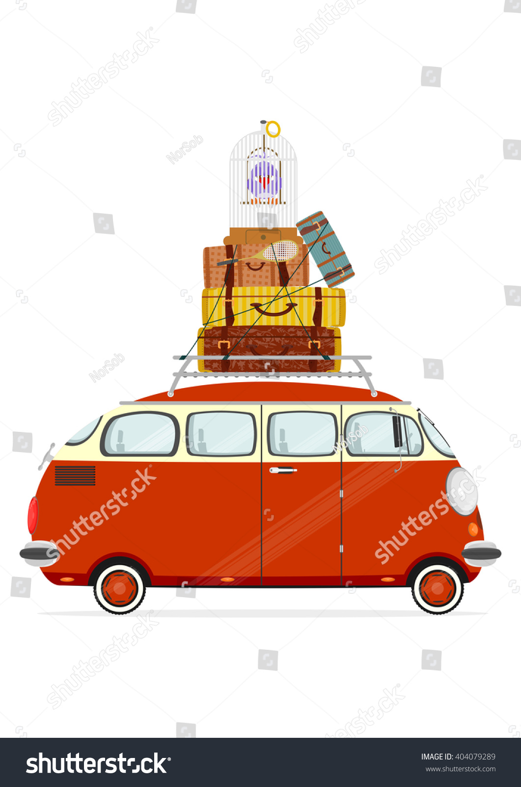 Funny Minivans: Holiday. Funny Cartoon Minivan With Suitcases On A White