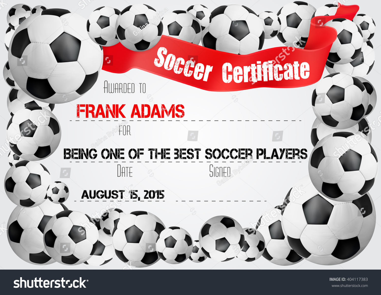 Soccer certificate template football ball icons stock vector soccer certificate template with football ball icons on the border and red ribbon banner for 1betcityfo Gallery