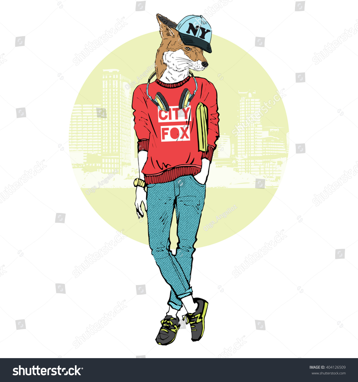 Fox Girl Dressed Sporty Urban Style Stock Vector 404126509 Shutterstock