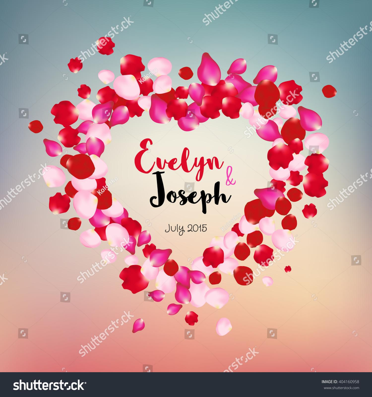 Rose Petals Heart Beautiful Wedding Invitation Stock Vector (Royalty ...