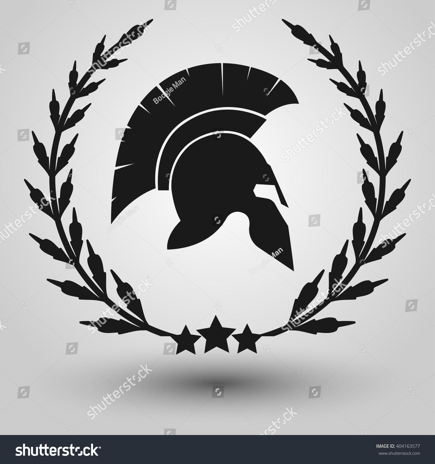 Spartan helmet silhouettes laurel wreath symbol stock vector spartan helmet silhouettes with laurel wreath symbol of gladiator soldier or greek warrior or roman biocorpaavc