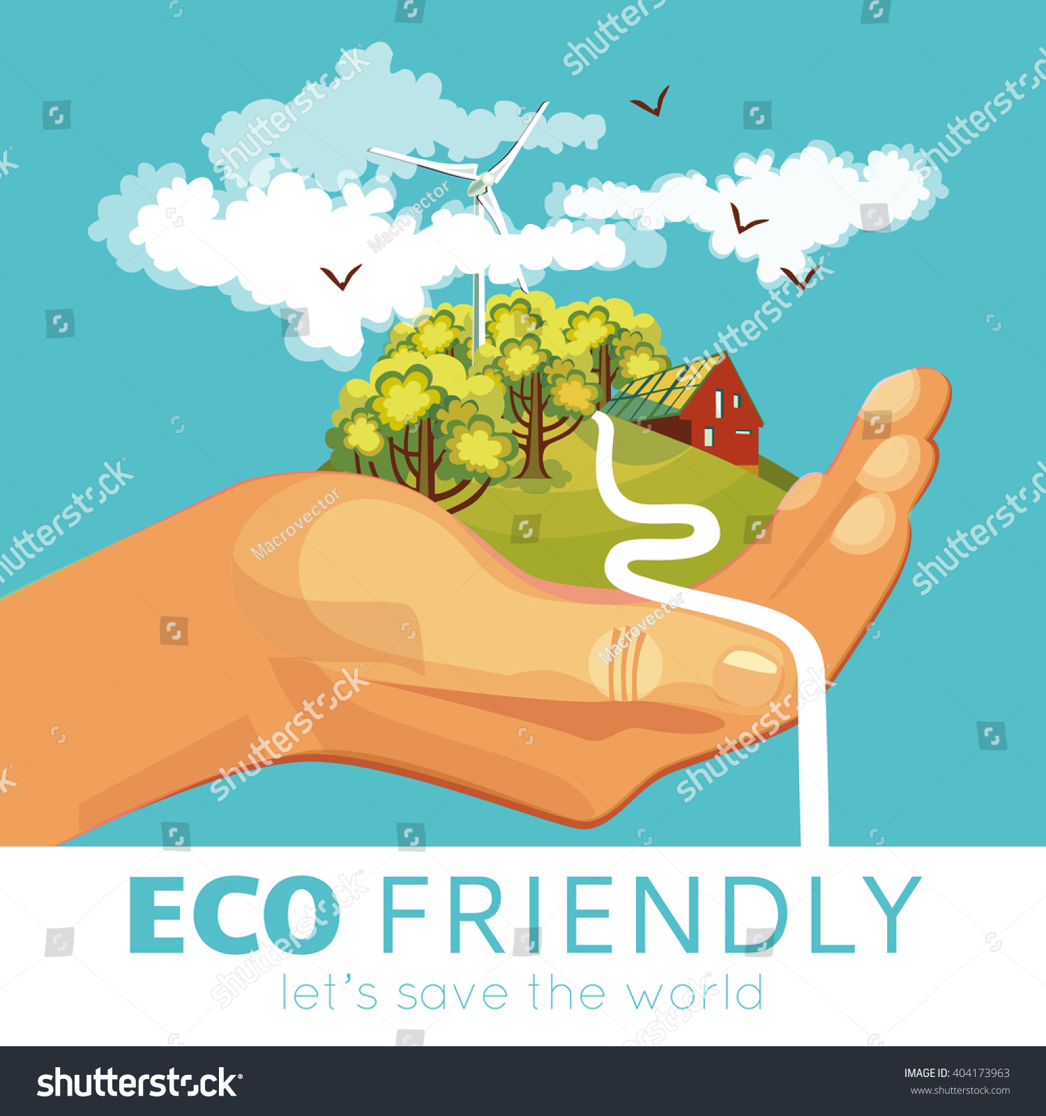 Poster design on environment - Saving Of Environment Poster With Countryside And Ecosystems At Palm On Blue Background Vector Illustration