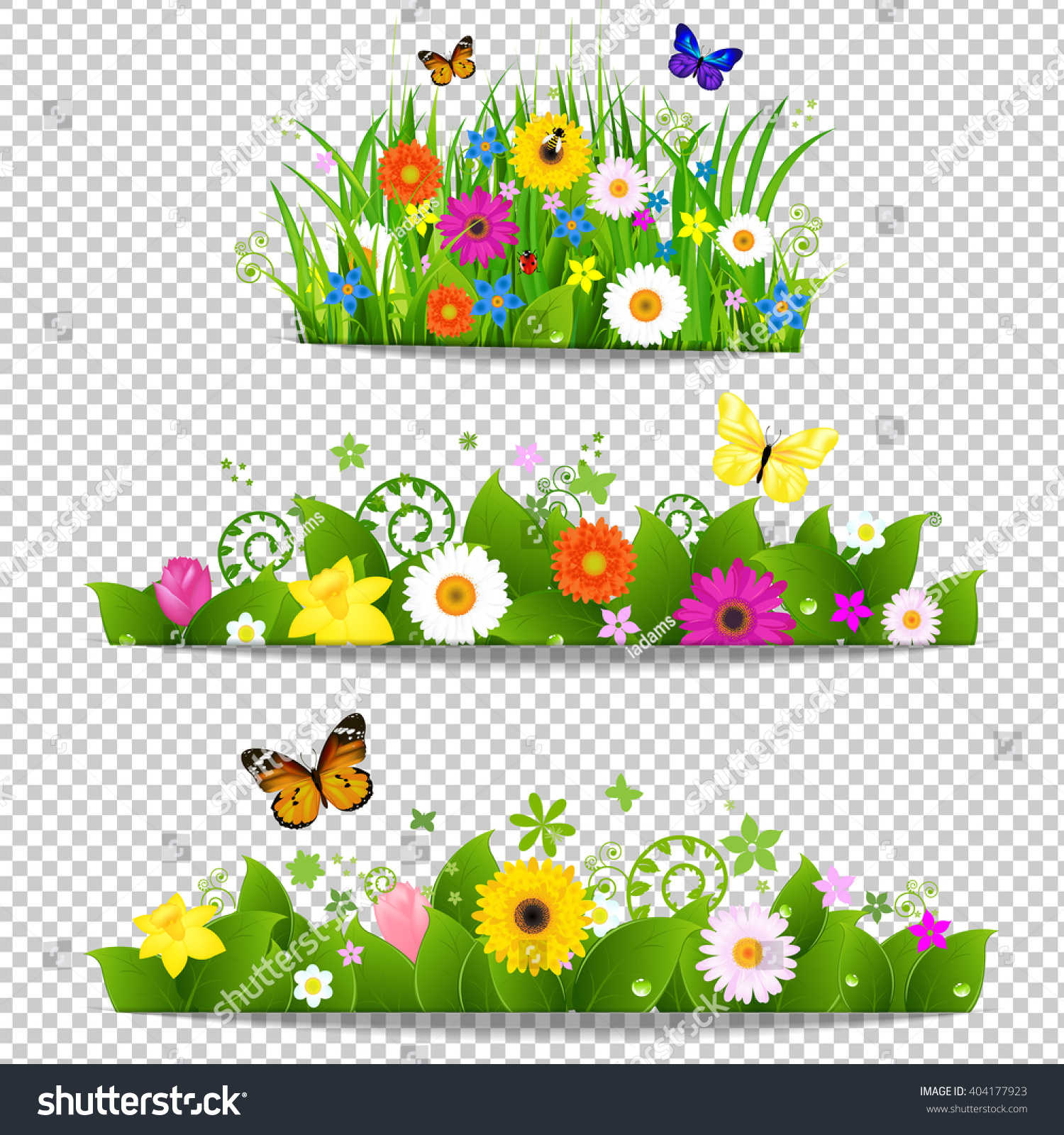 Spring Flower Bouquet Isolated On Transparent Stock Vector Royalty