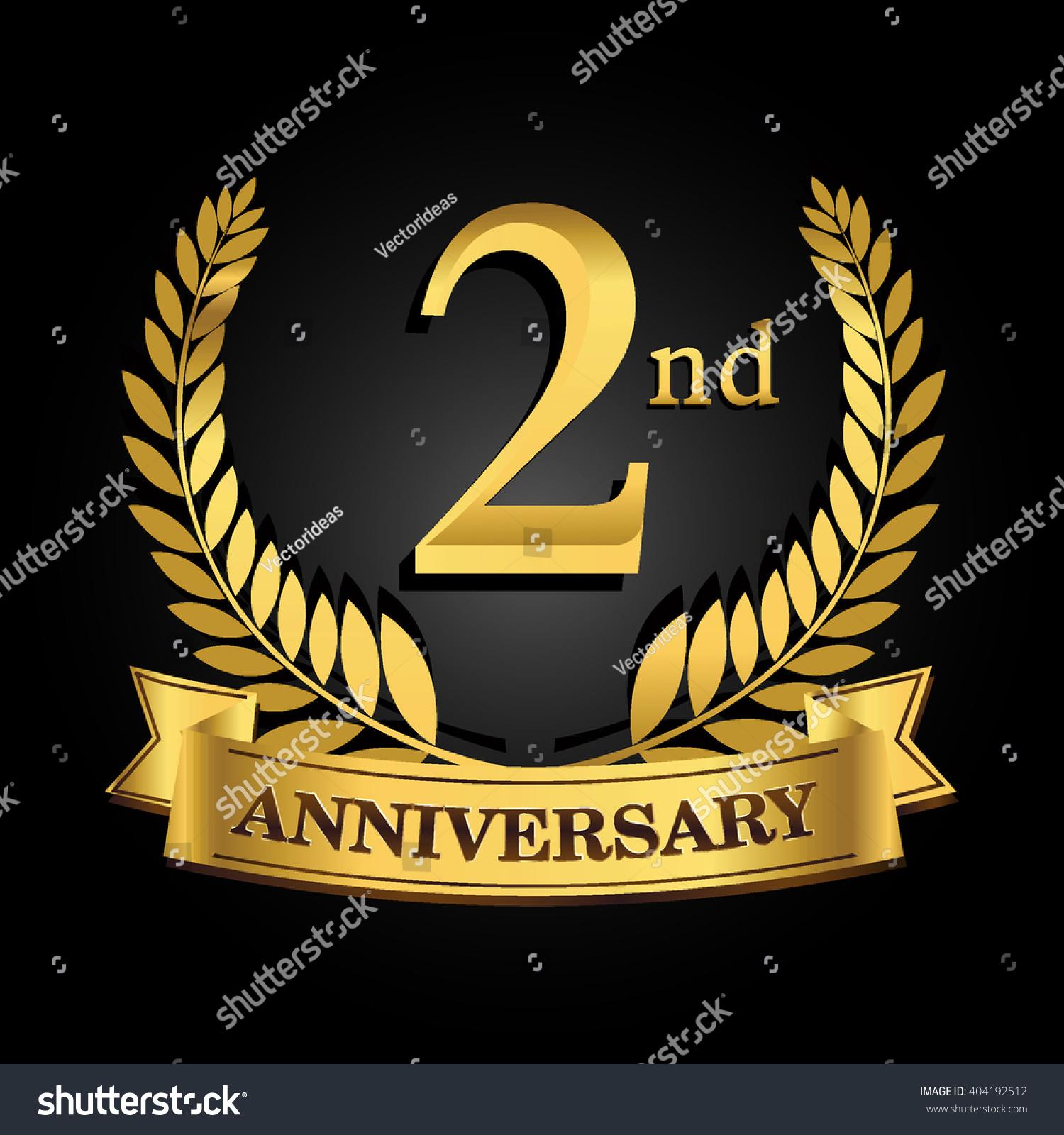Nd golden anniversary logo ring ribbon stock vector