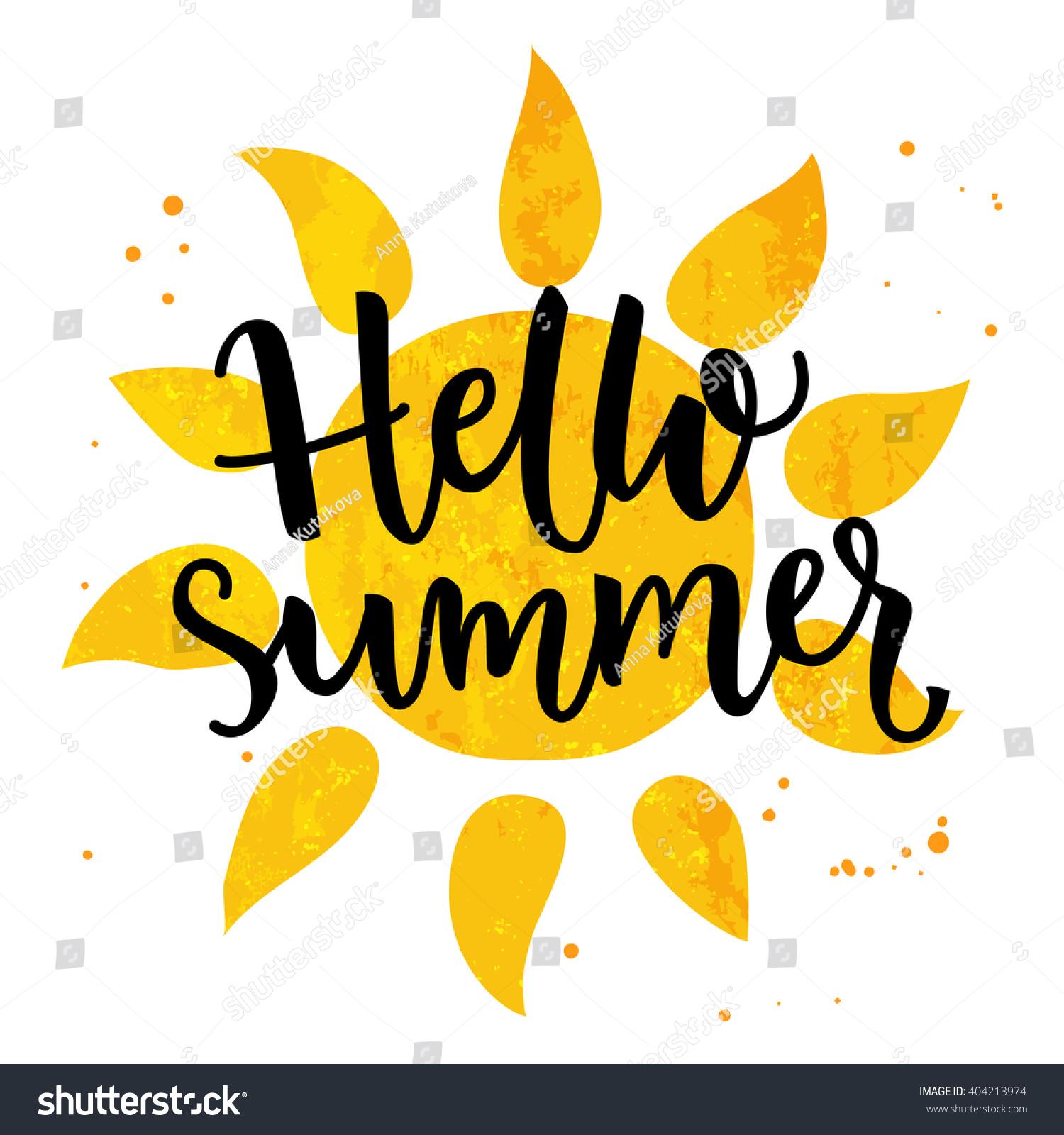 Hello Summer Banner Typography Poster Sun Stock Vector