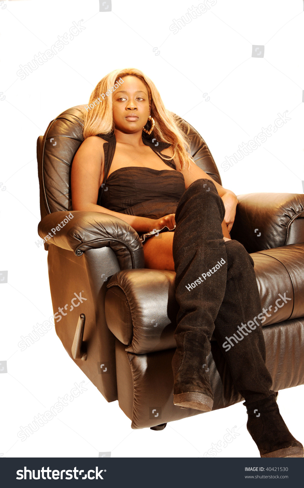 Blond Young Jamaican Girl Sitting Black Stock Photo