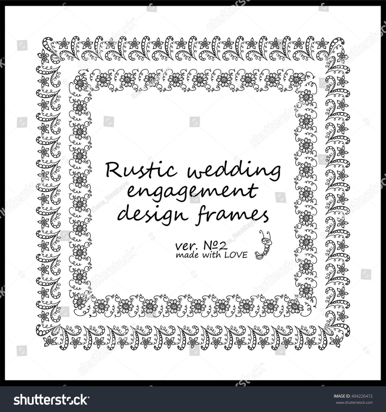 Rustic Wedding Engagement Frames Decorative Vector Stock Vector ...